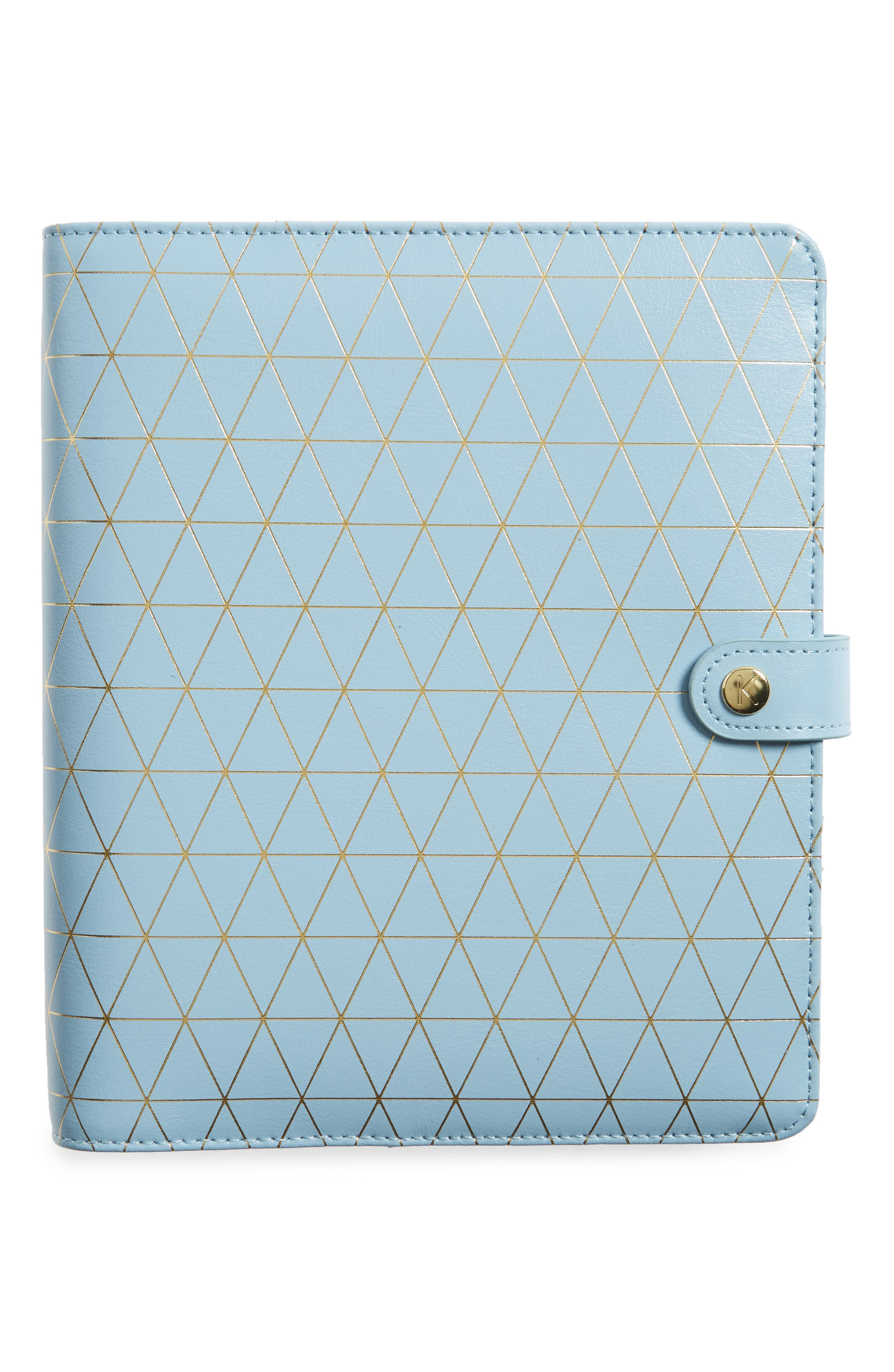 Large Leather Wellness Planner,                         Main,                         color, Light Blue/ Gold