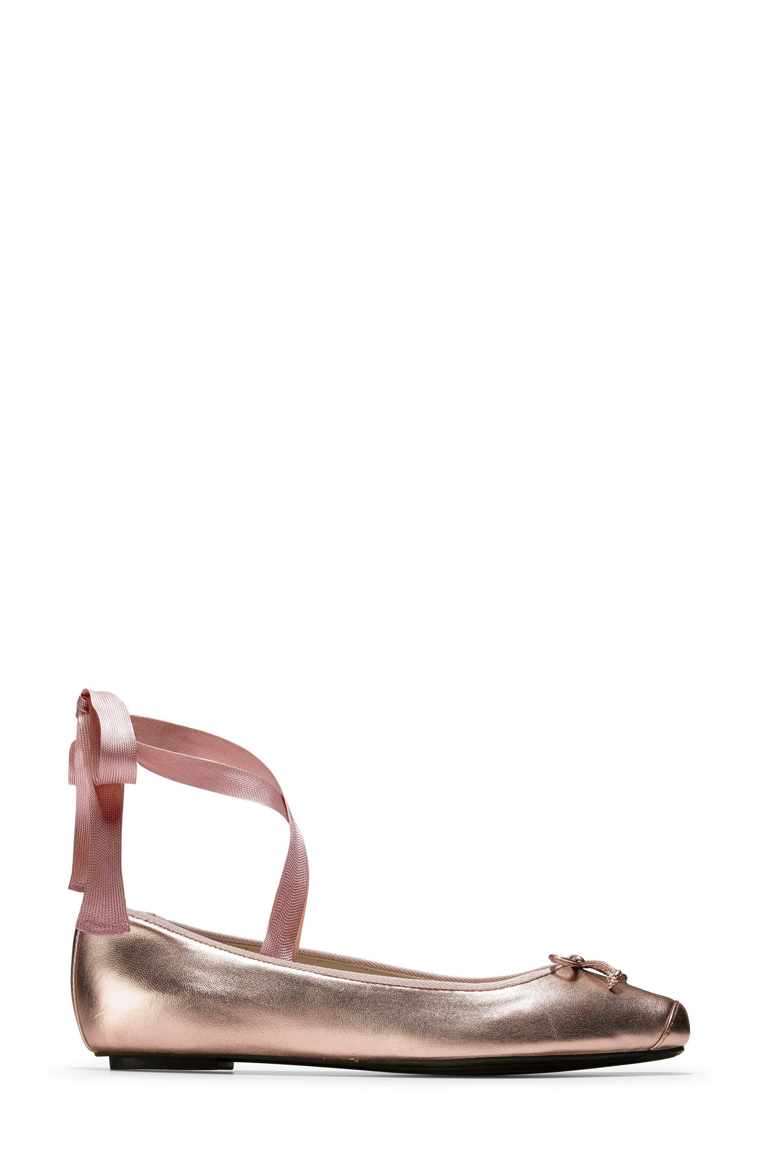 Downtown Ankle Wrap Ballet Flat,                             Alternate thumbnail 3, color,                             Rose Gold Leather