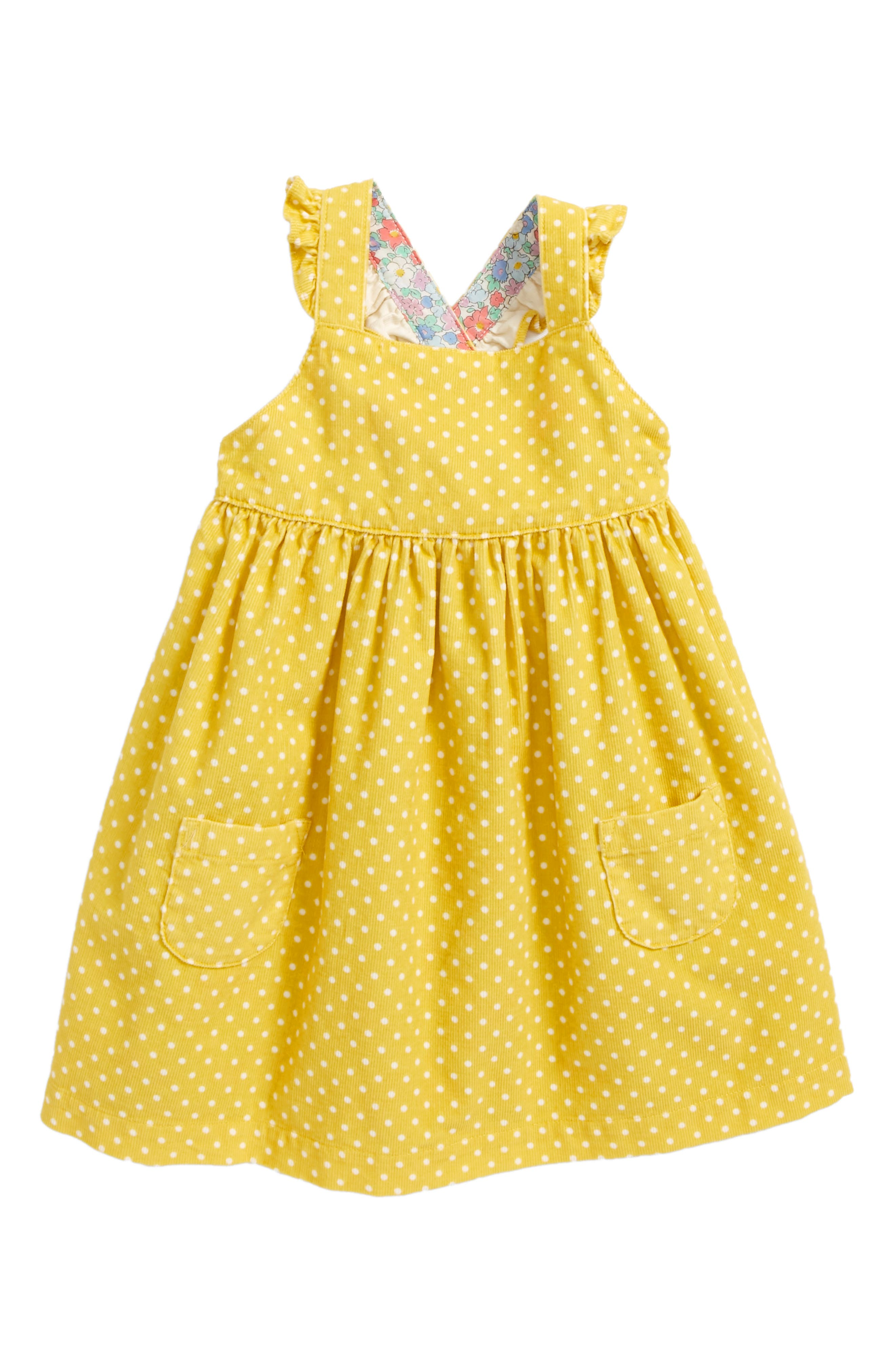 Mini Boden Ruffly Corduroy Pinafore Dress (Baby Girls & Toddler Girls)