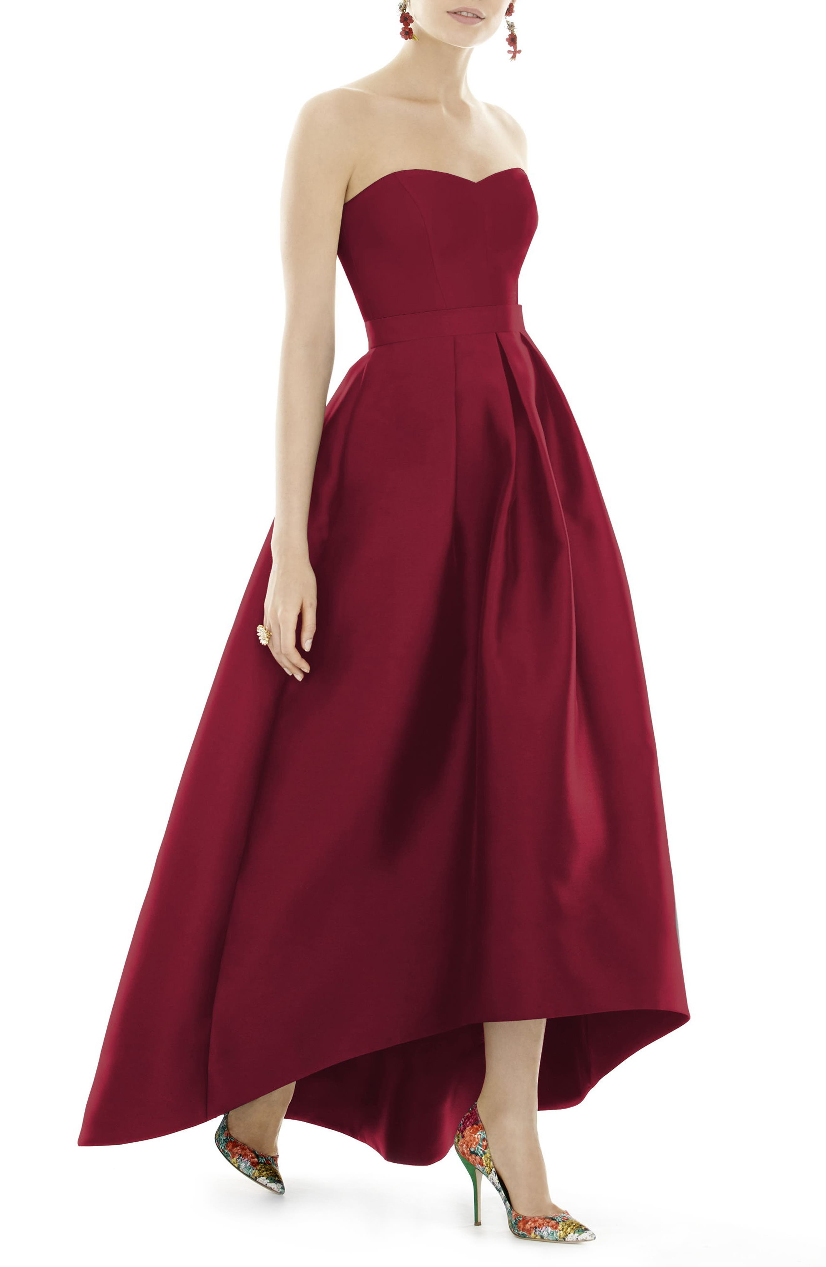 Strapless High/Low Sateen Twill Gown,                             Main thumbnail 1, color,                             Burgundy