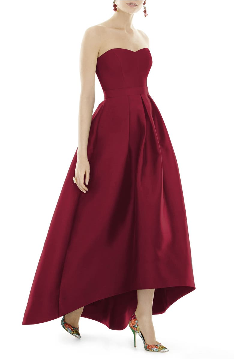 Strapless High/Low Sateen Twill Gown,                         Main,                         color, Burgundy