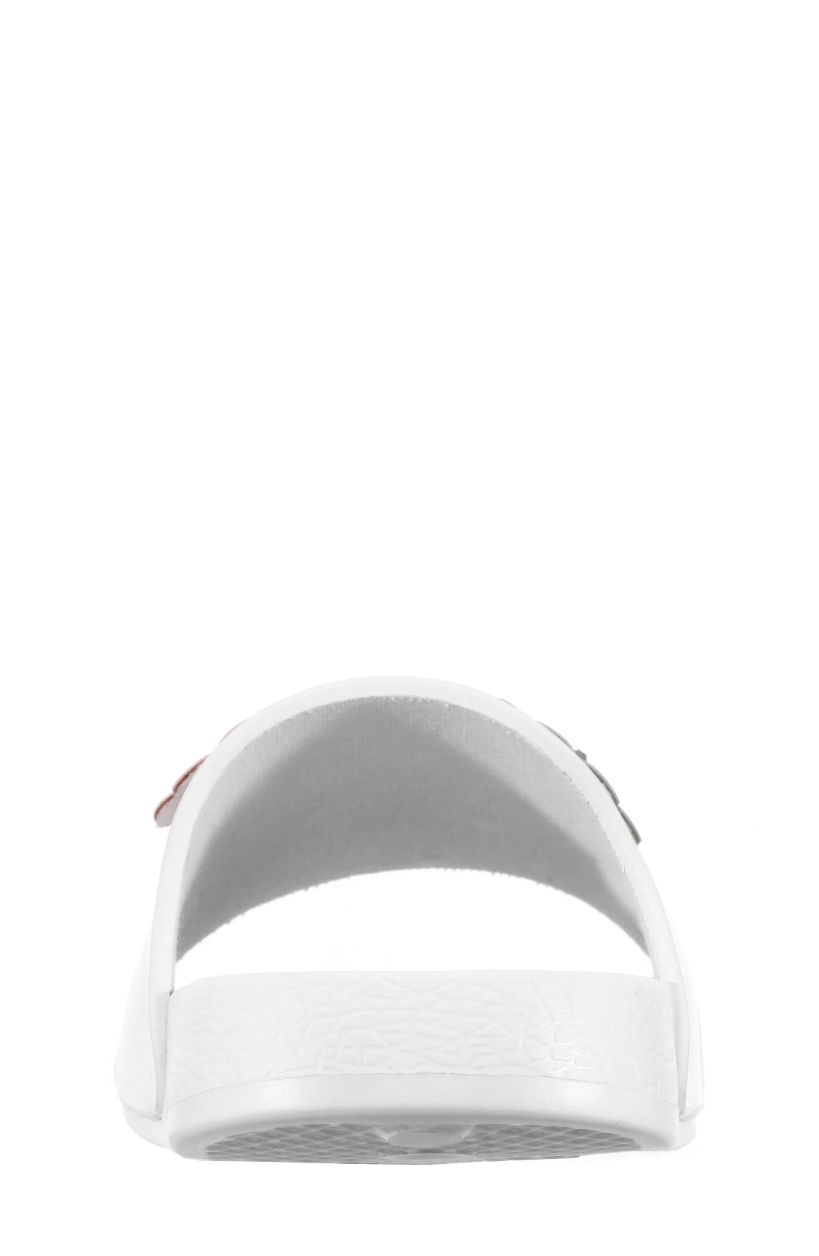 Flowermaid Embellished Slide Sandal,                             Alternate thumbnail 3, color,                             White Smooth