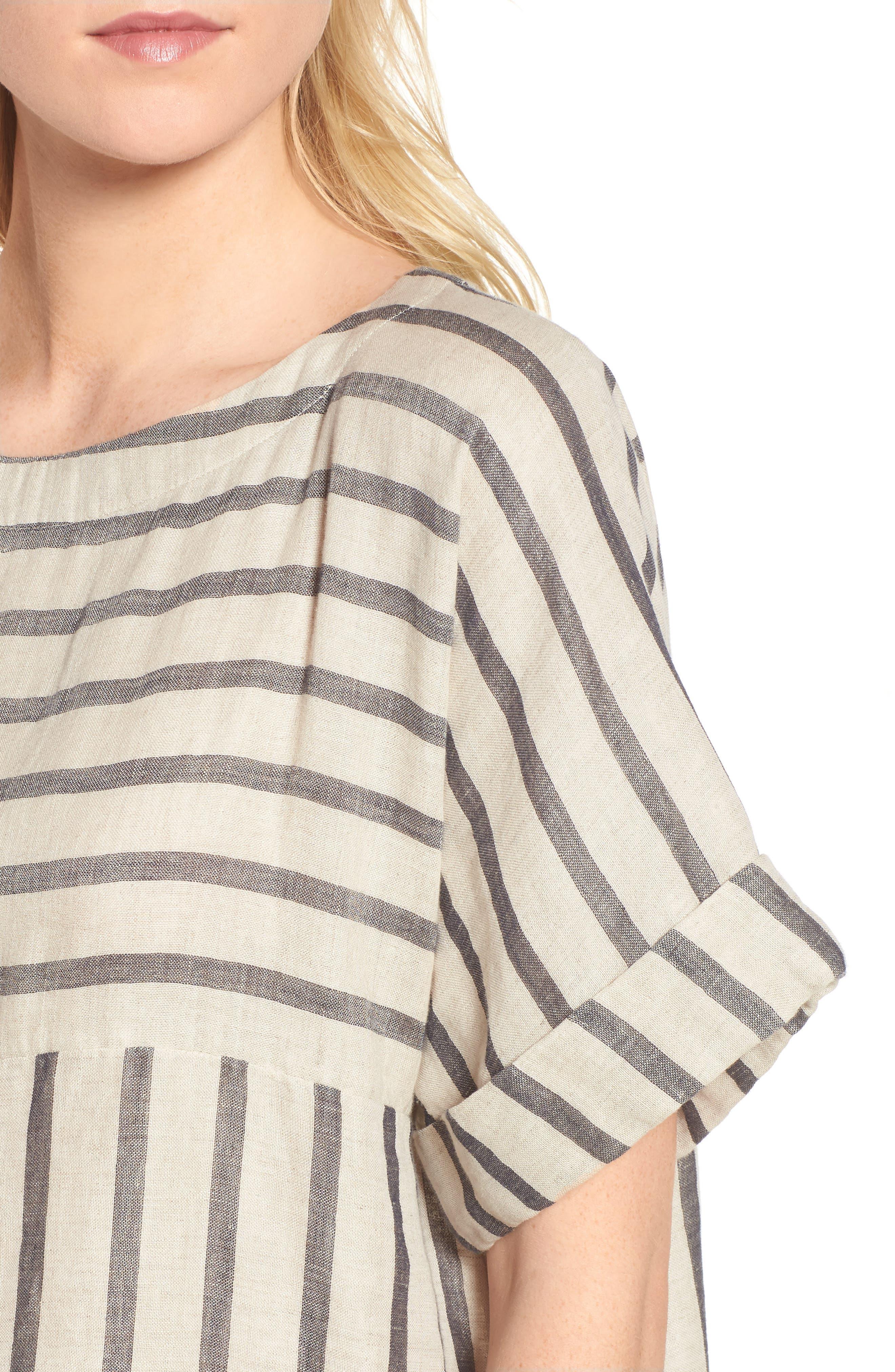 Stripe Linen & Cotton Shift Dress,                             Alternate thumbnail 4, color,                             Natural