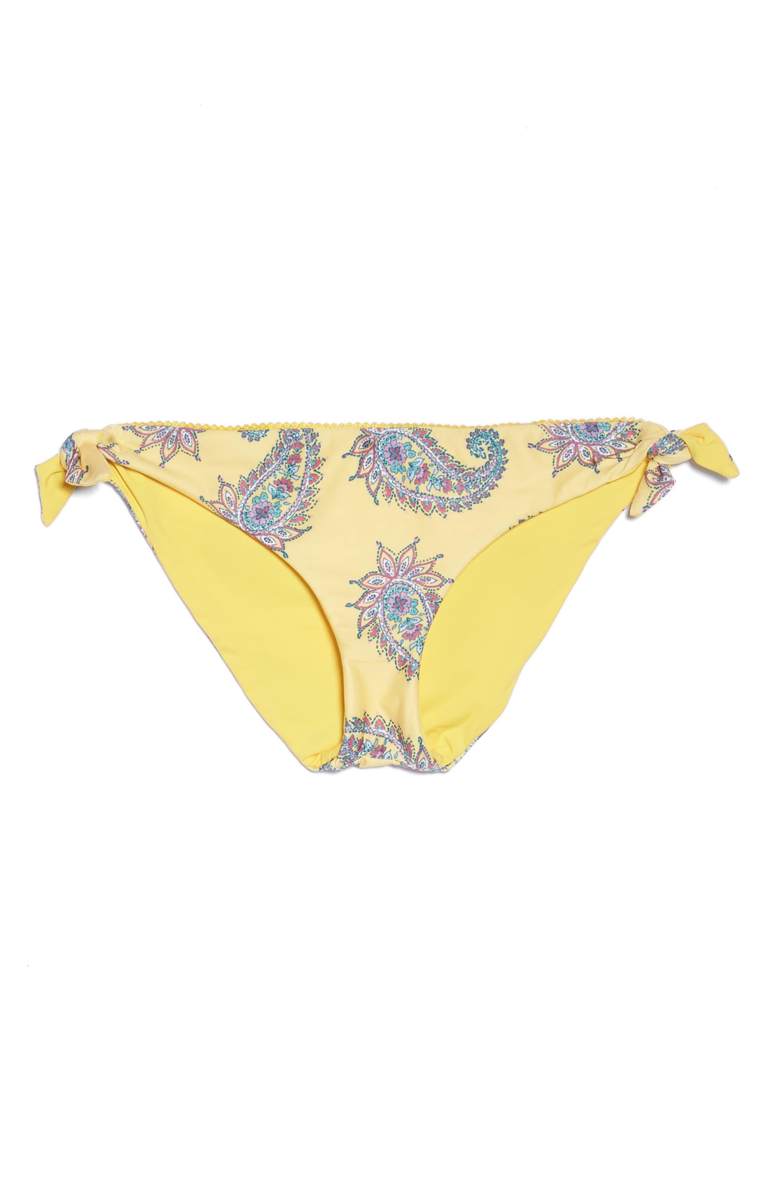 Little Havana Scarf Tie Bikini Bottoms,                             Alternate thumbnail 9, color,                             Yellow Multi