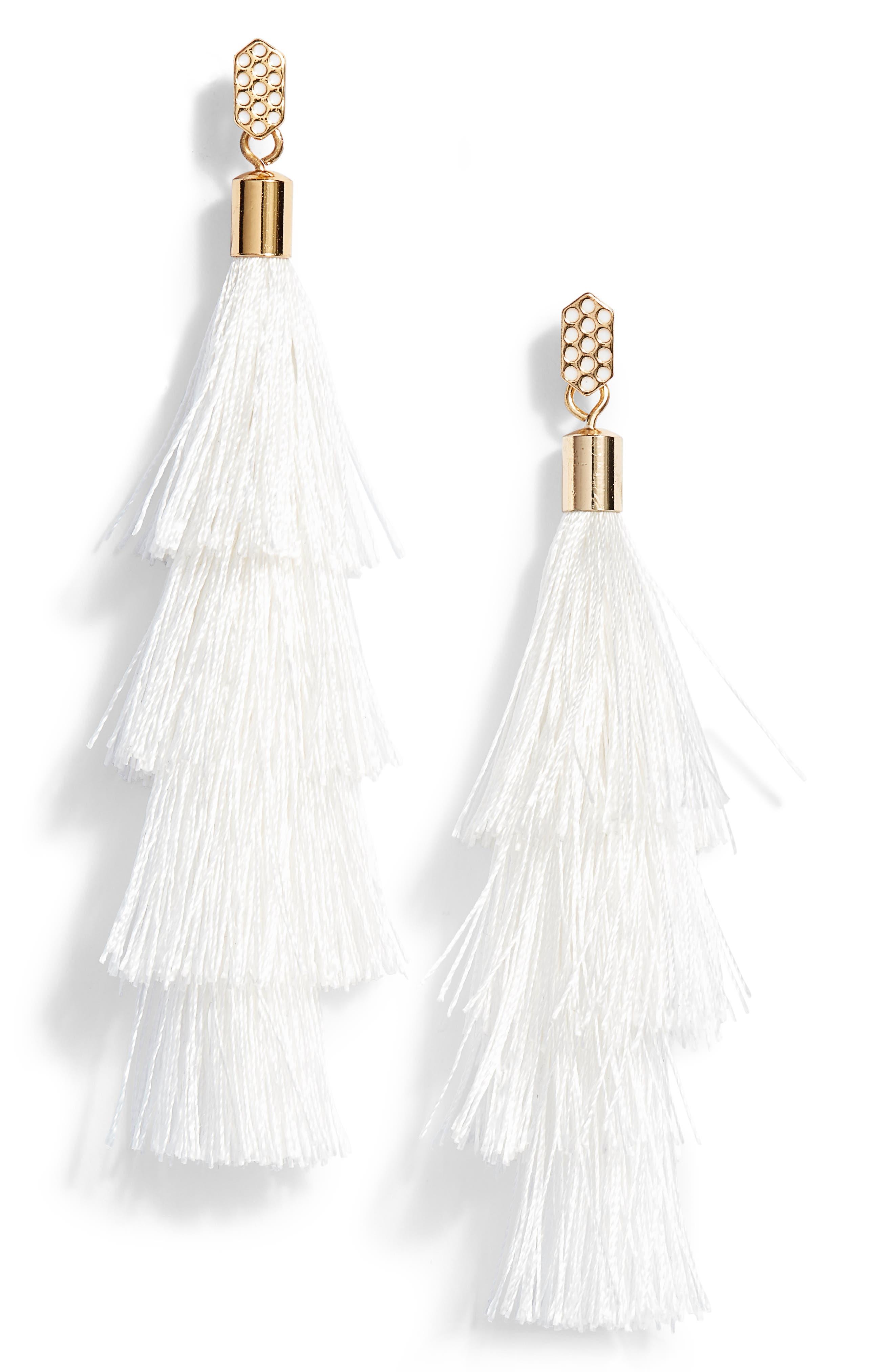 Stacked Tassel Earrings,                             Main thumbnail 1, color,                             White/ Gold