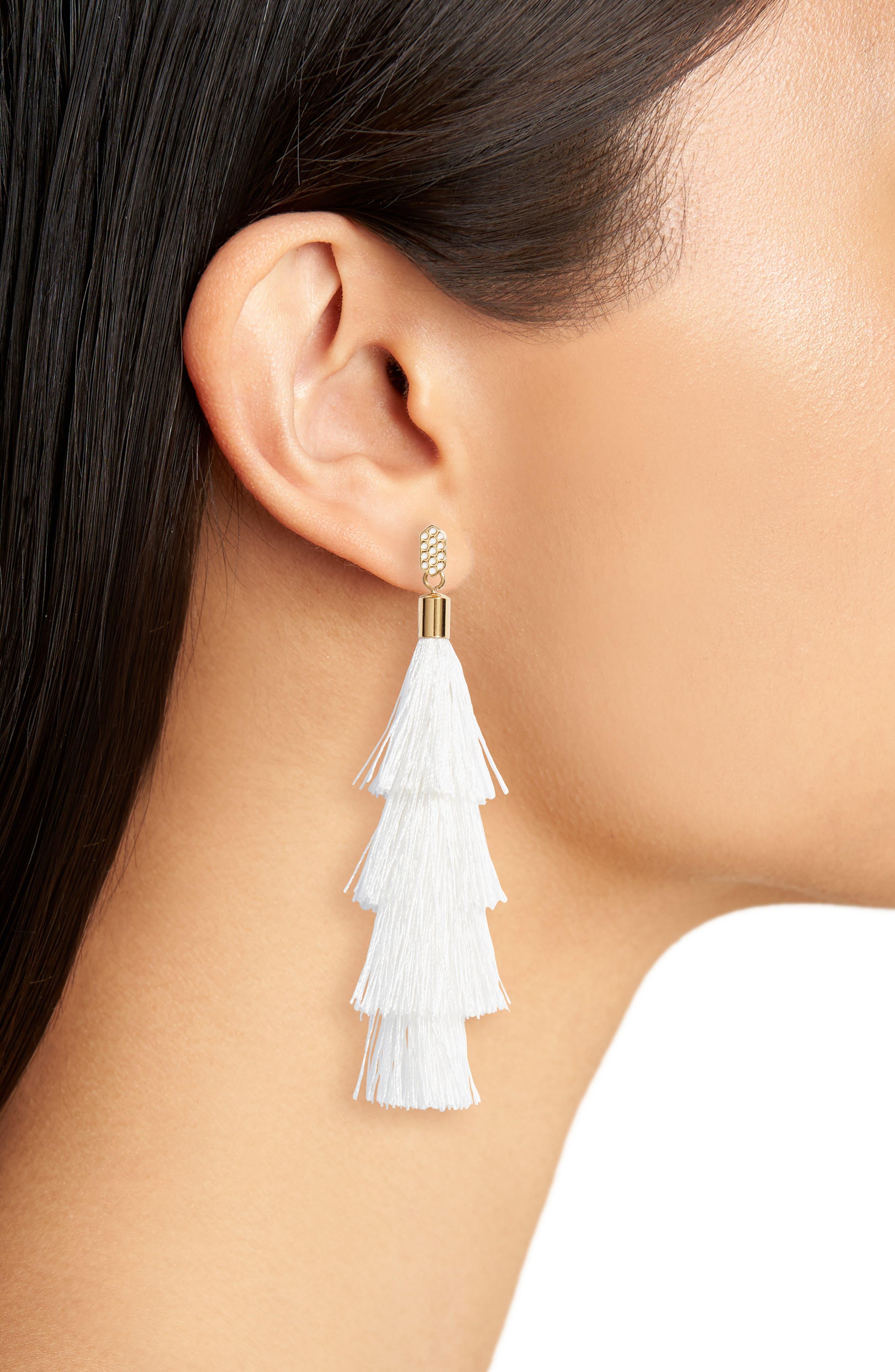 Stacked Tassel Earrings,                             Alternate thumbnail 2, color,                             White/ Gold