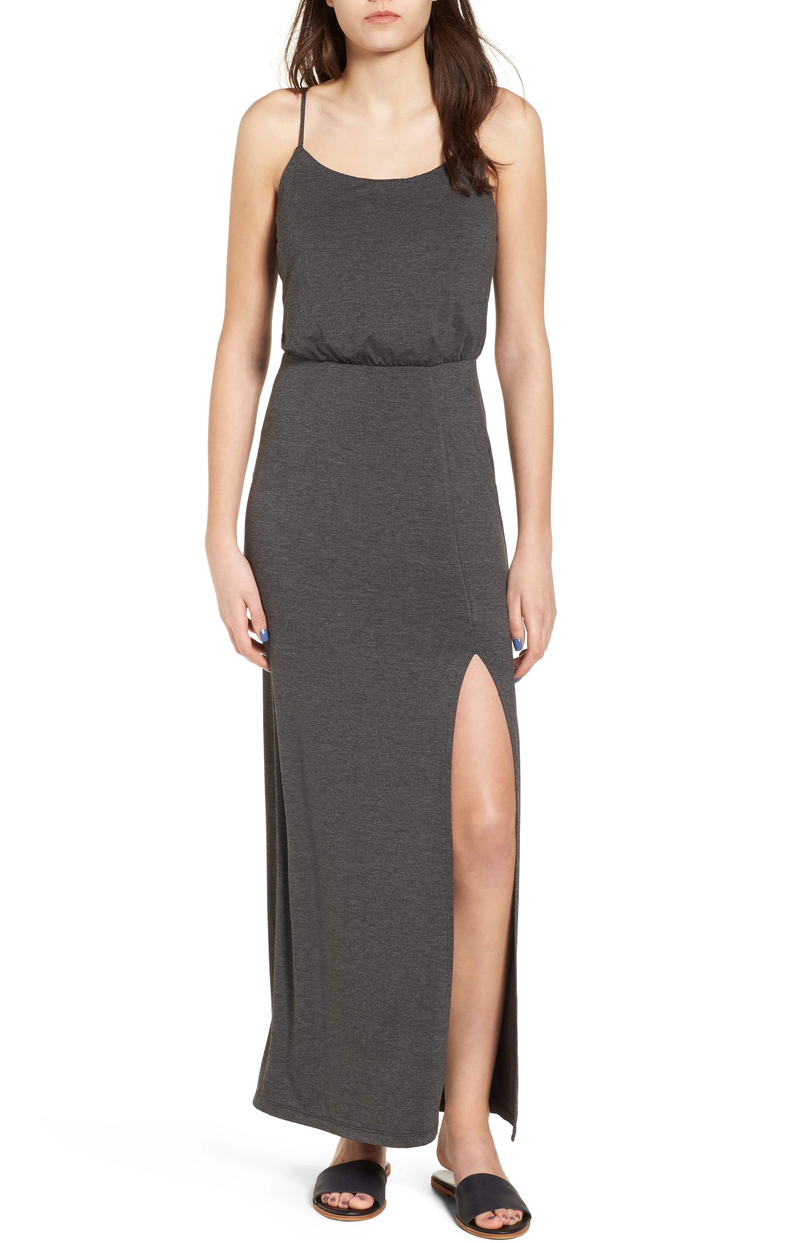 Knit Maxi Dress,                         Main,                         color, Heather Charcoal