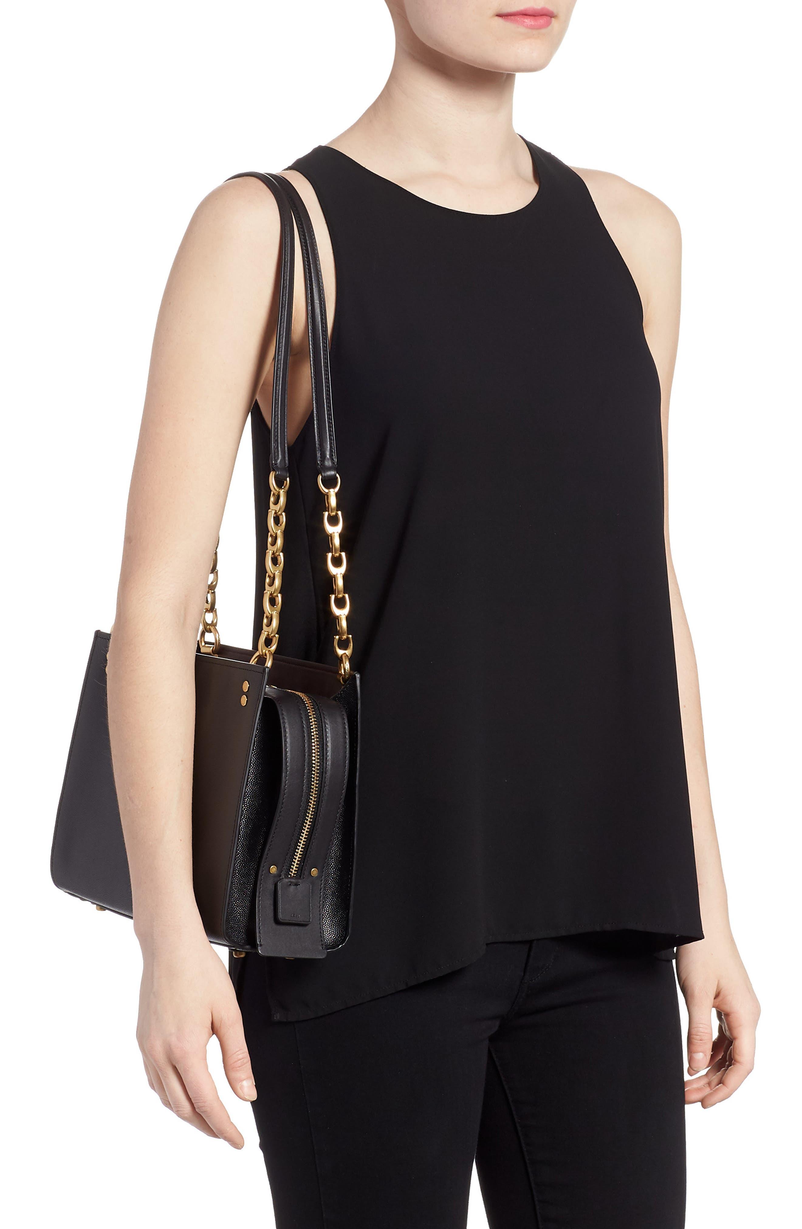 Rogue Leather Shoulder Bag,                             Alternate thumbnail 2, color,                             Black