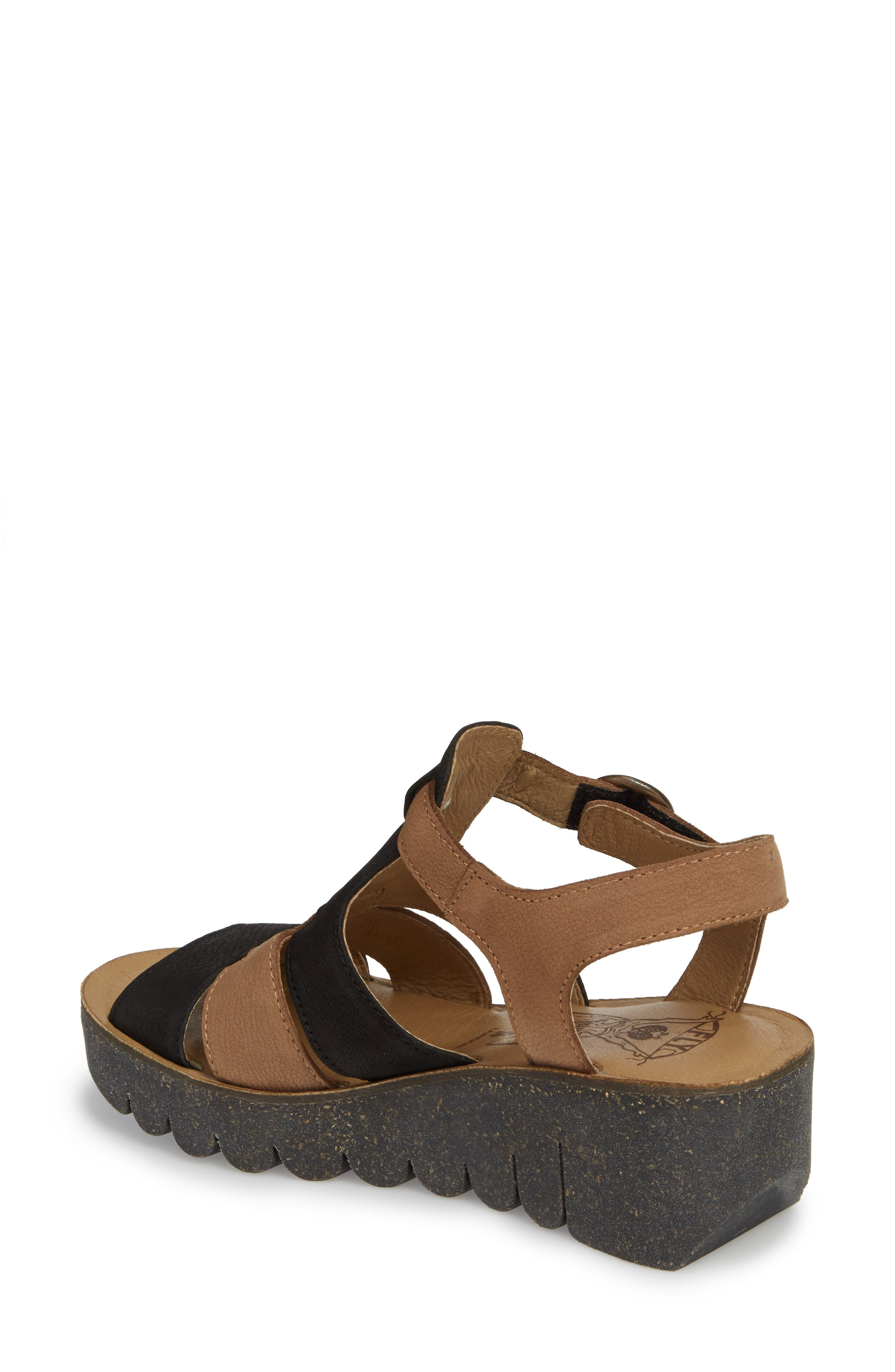 Yuni Wedge Sandal,                             Alternate thumbnail 2, color,                             Black/ Sand Cupido Leather