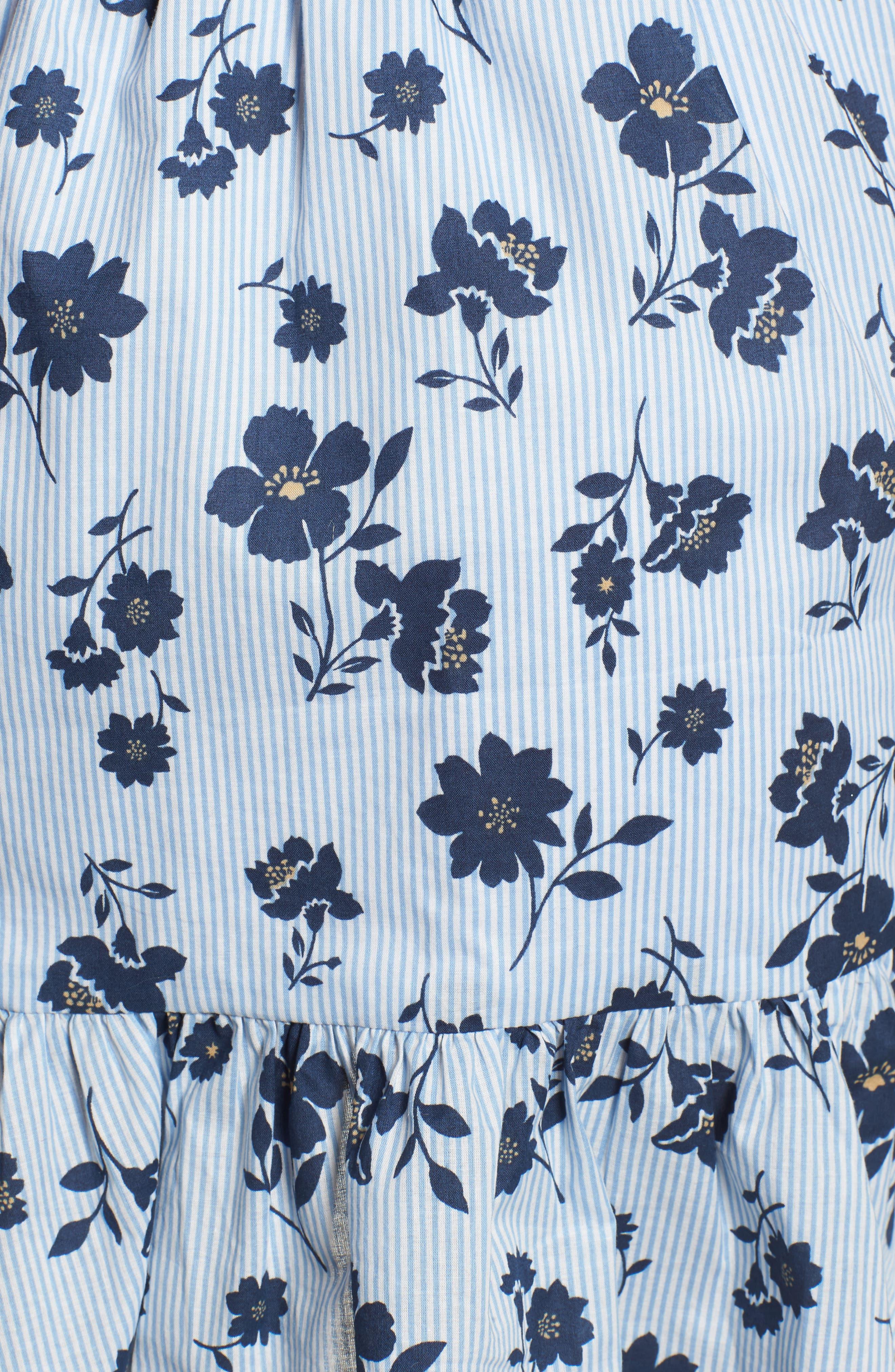 Floral Ruffle Wrap Skirt,                             Alternate thumbnail 6, color,                             Sky Stripe