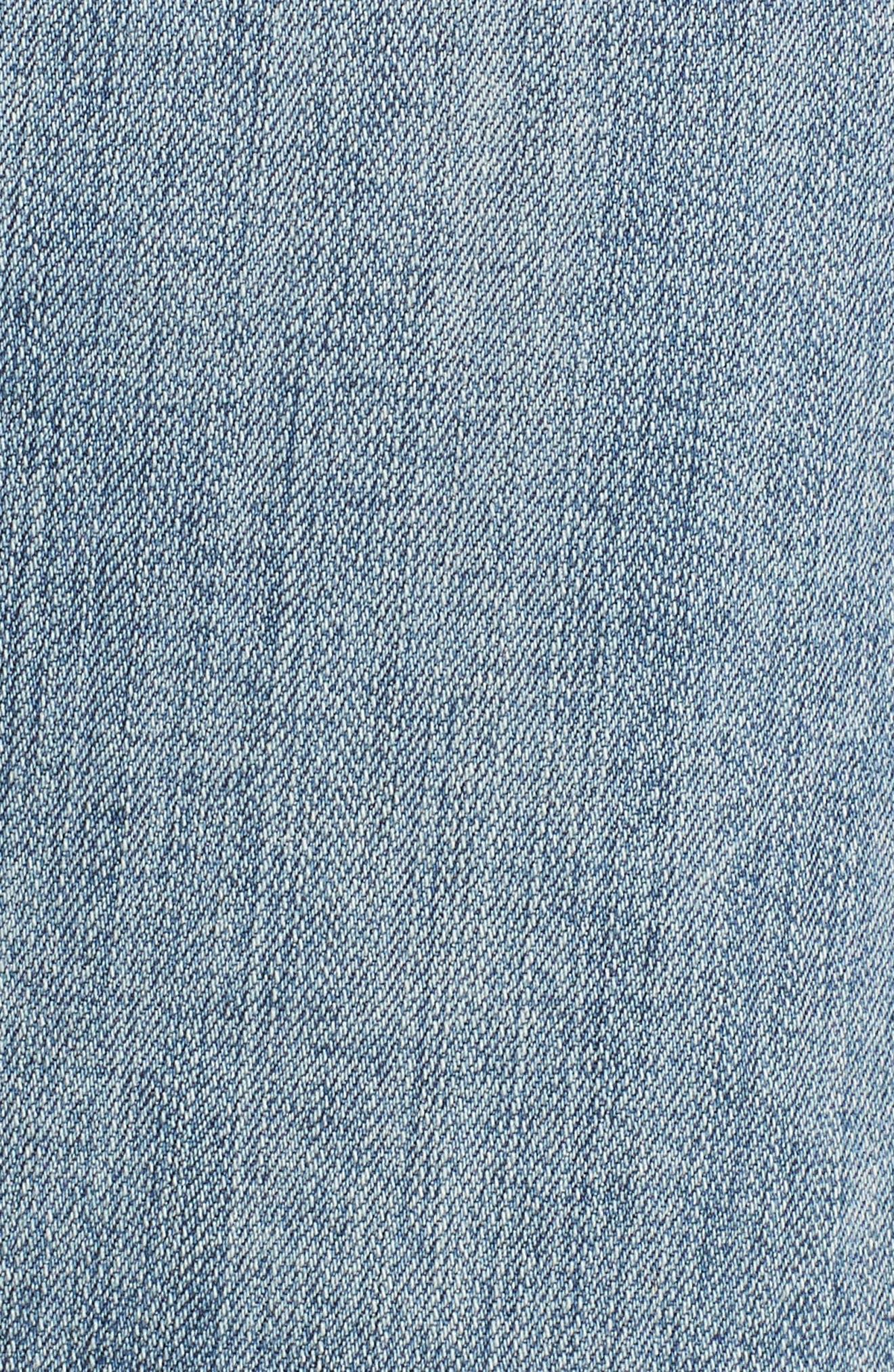 Belted Stretch Denim Skirt,                             Alternate thumbnail 5, color,                             Galactic Wash