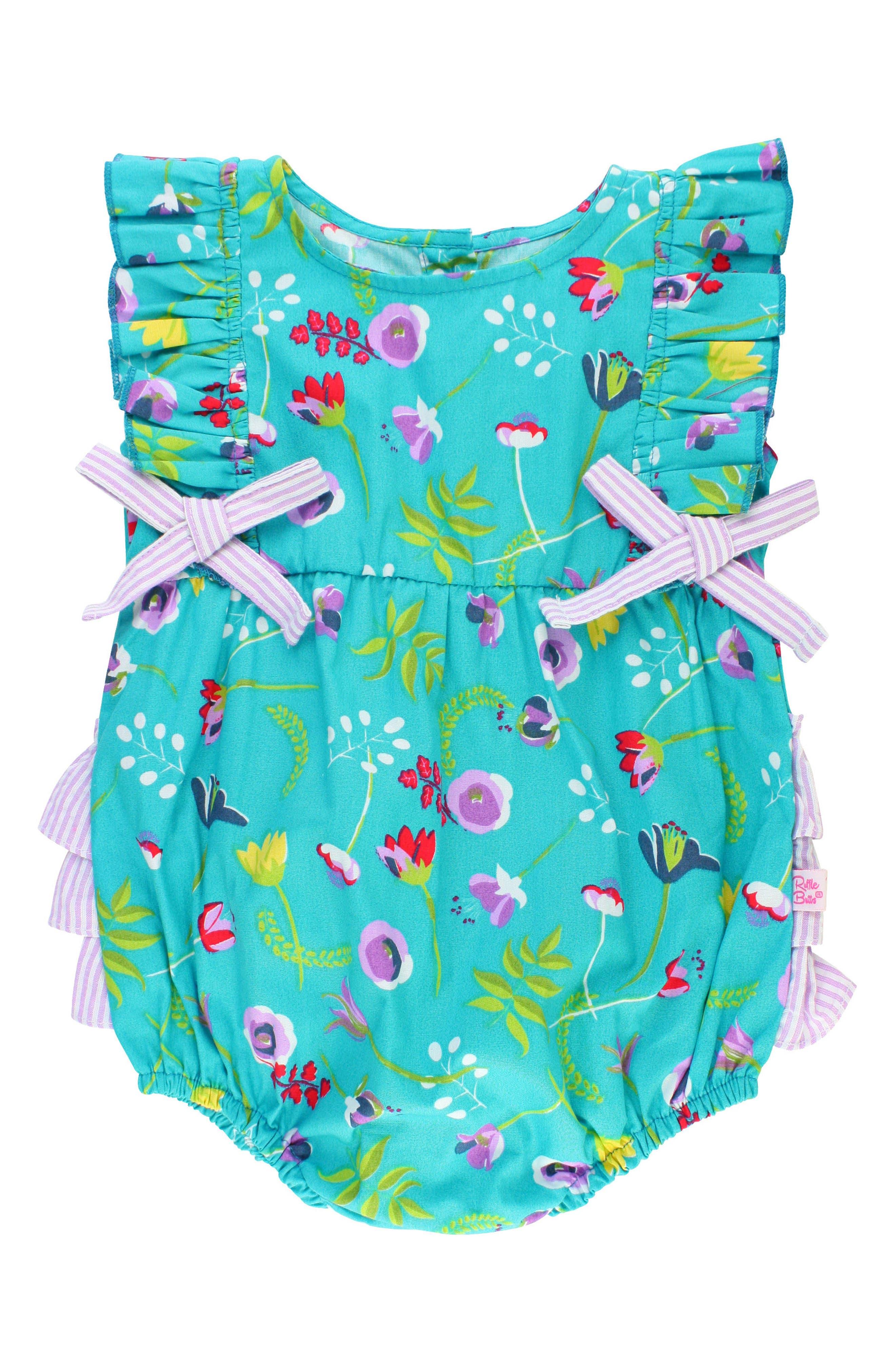 RuffleButts Sweet Meadow Ruffle Bubble Romper (Baby Girls)