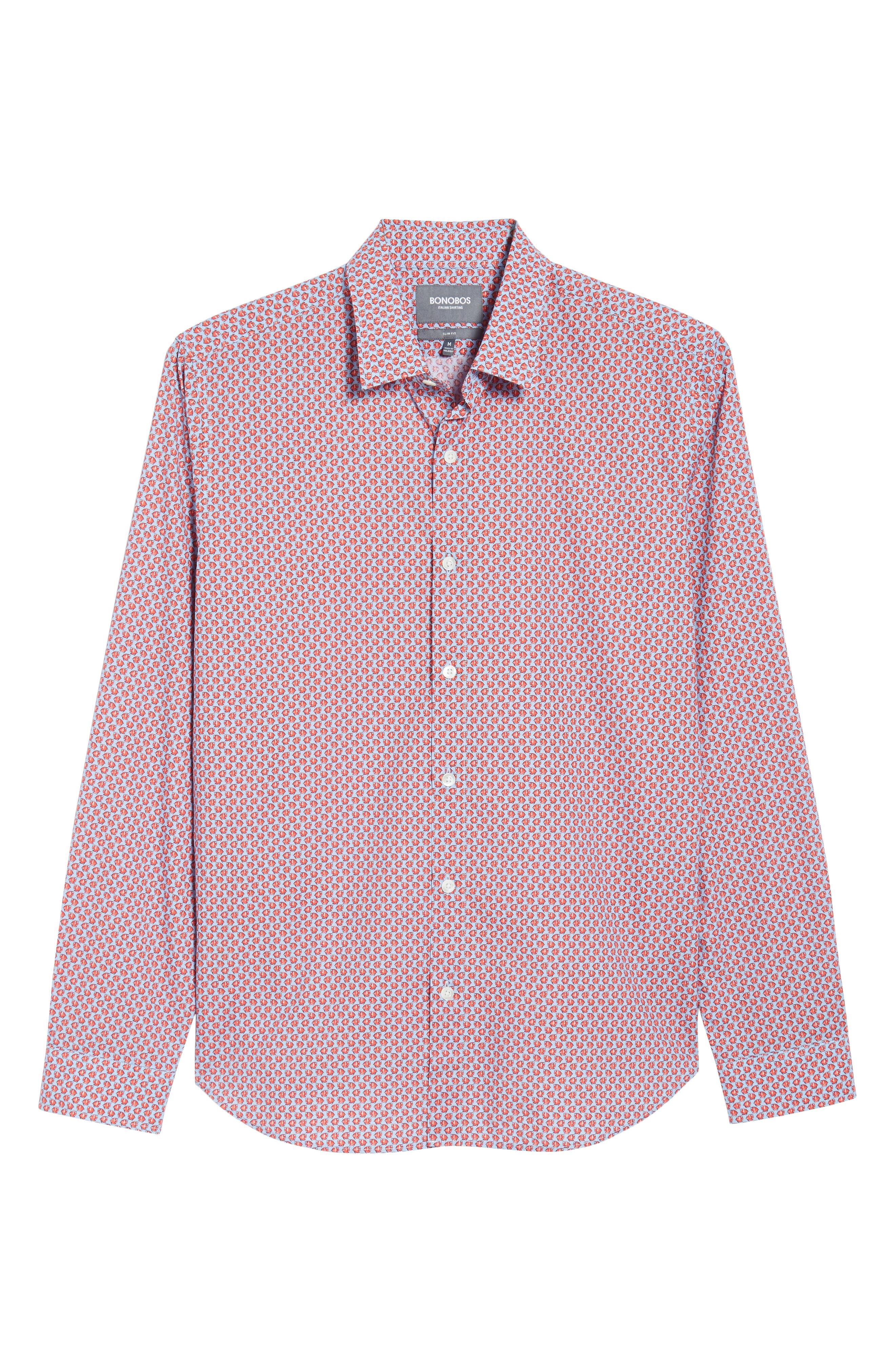 Premium Slim Fit Print Sport Shirt,                             Alternate thumbnail 6, color,                             Small Fish