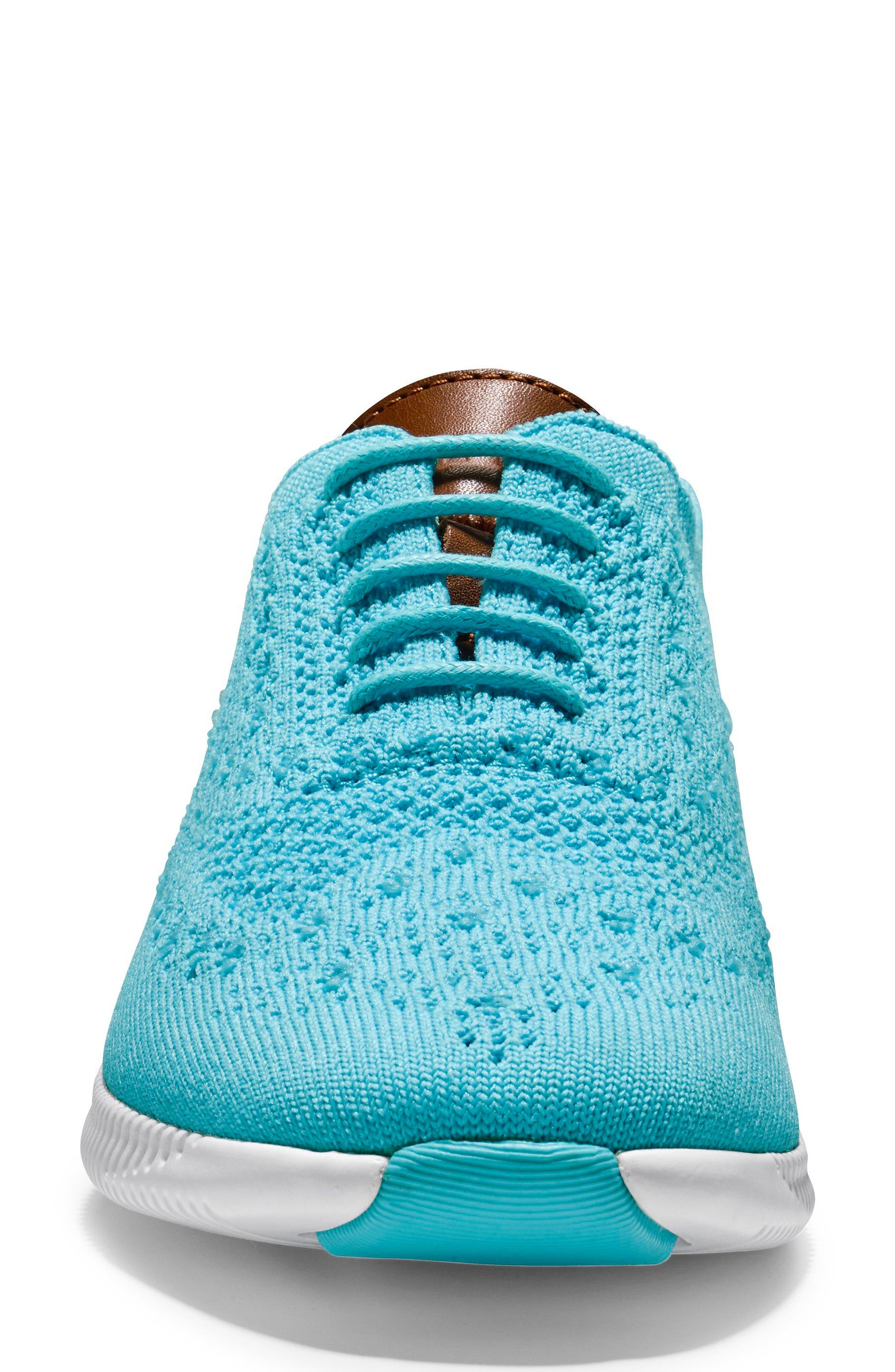 2.ZERØGRAND Stitchlite Wingtip Sneaker,                             Alternate thumbnail 3, color,                             Bluefish Fabric