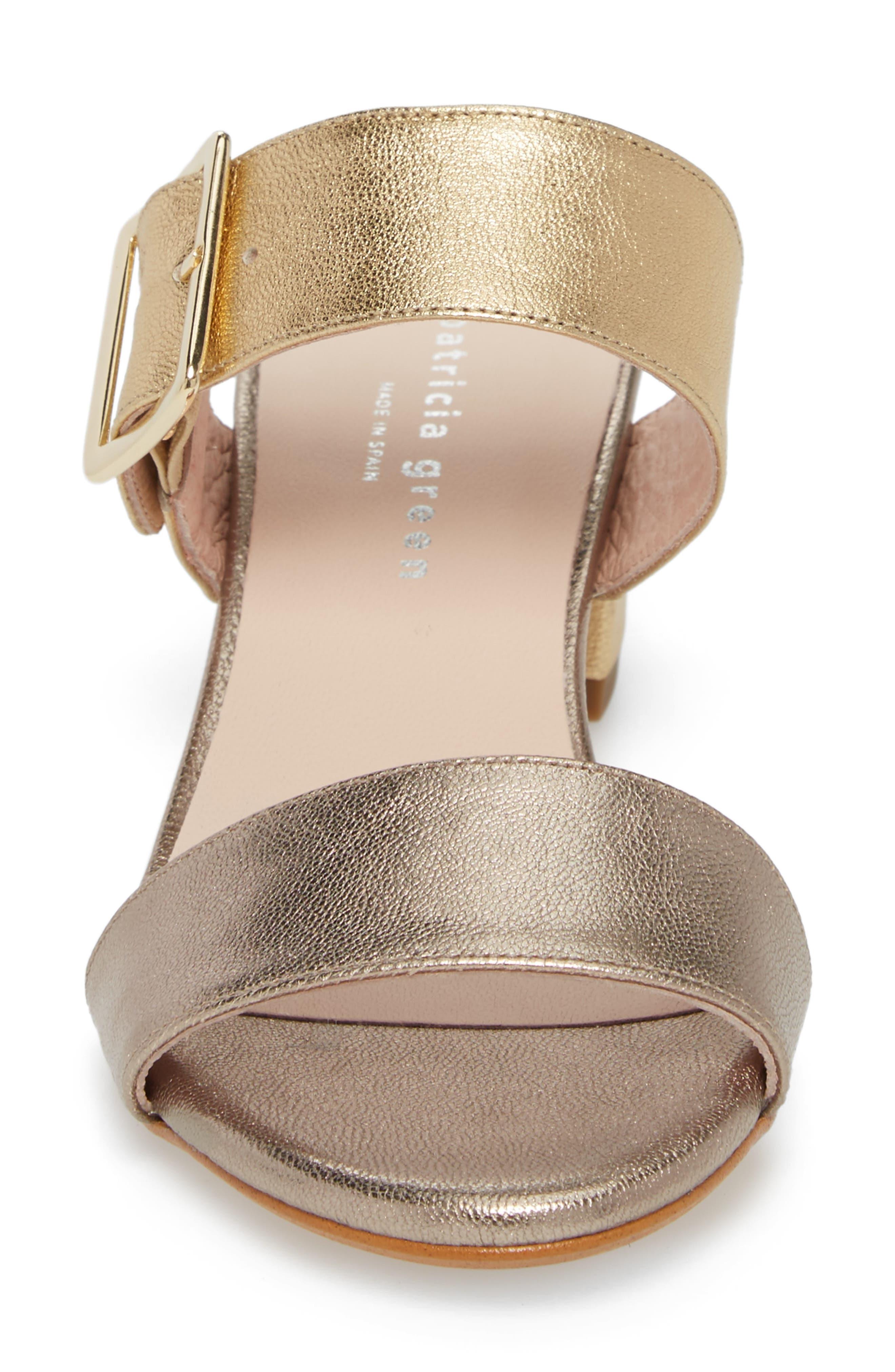 Ruth Slide Sandal,                             Alternate thumbnail 4, color,                             Gold/ Bronze Leather