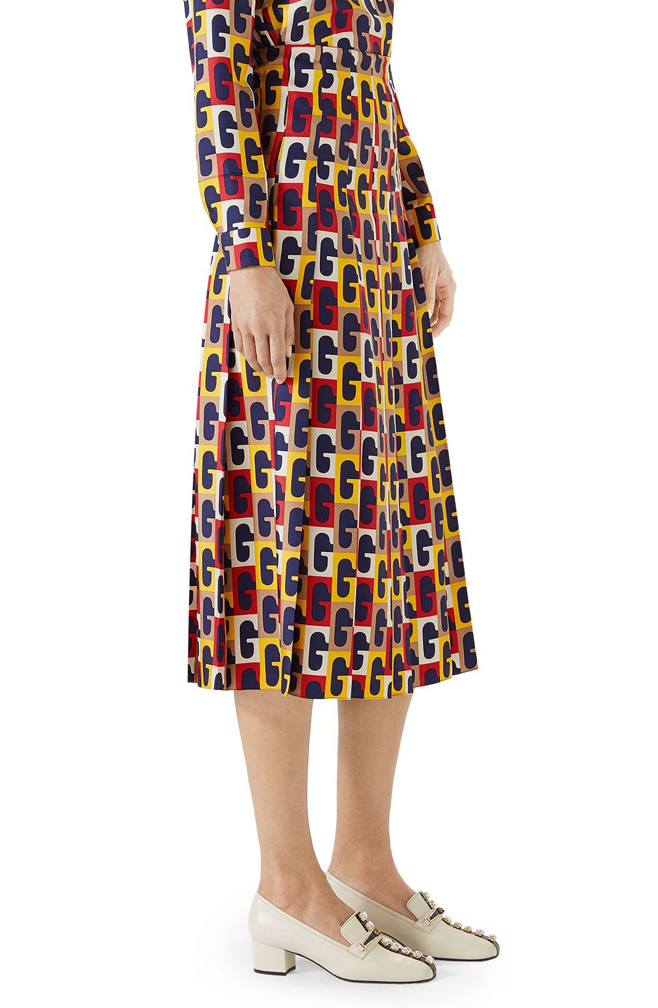 G-Sequence Print Silk Skirt,                             Alternate thumbnail 3, color,                             Ivory/ Yellow/ Red Print