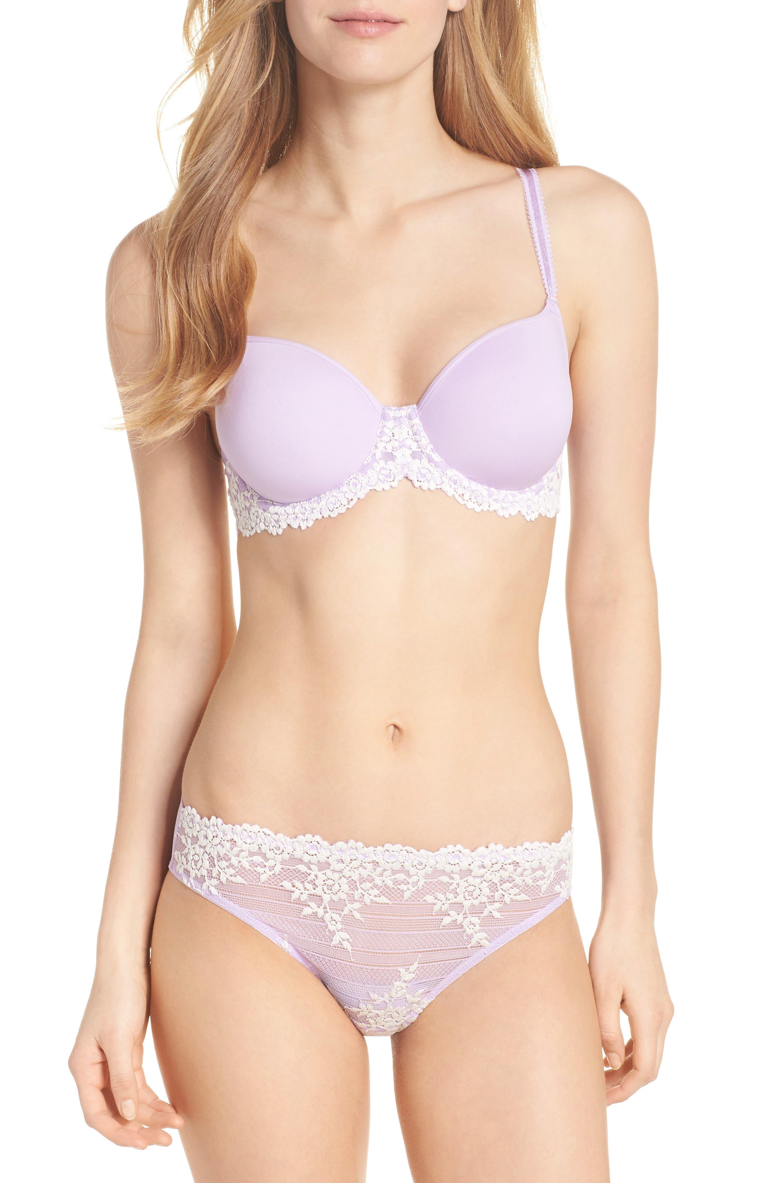 'Embrace' Lace Bikini,                             Alternate thumbnail 3, color,                             Lavender