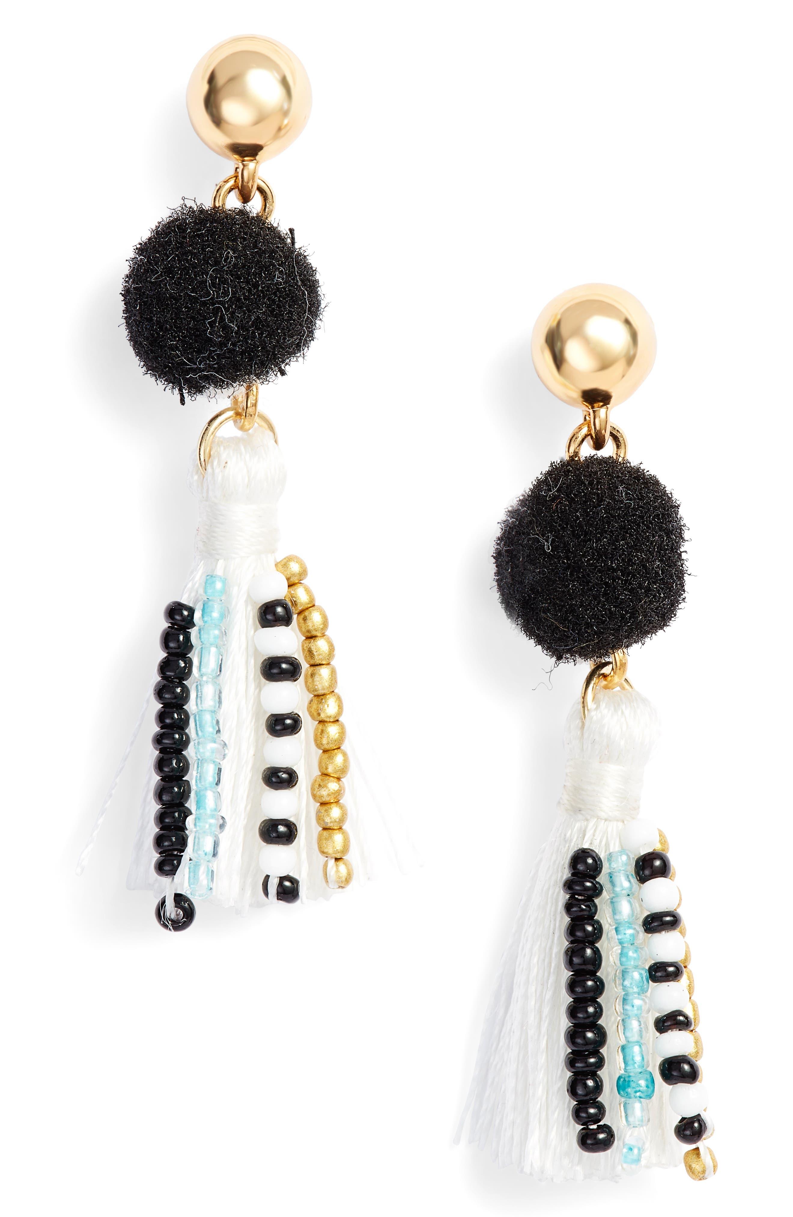 Beaded Tassel Earrings,                         Main,                         color, Black/ White
