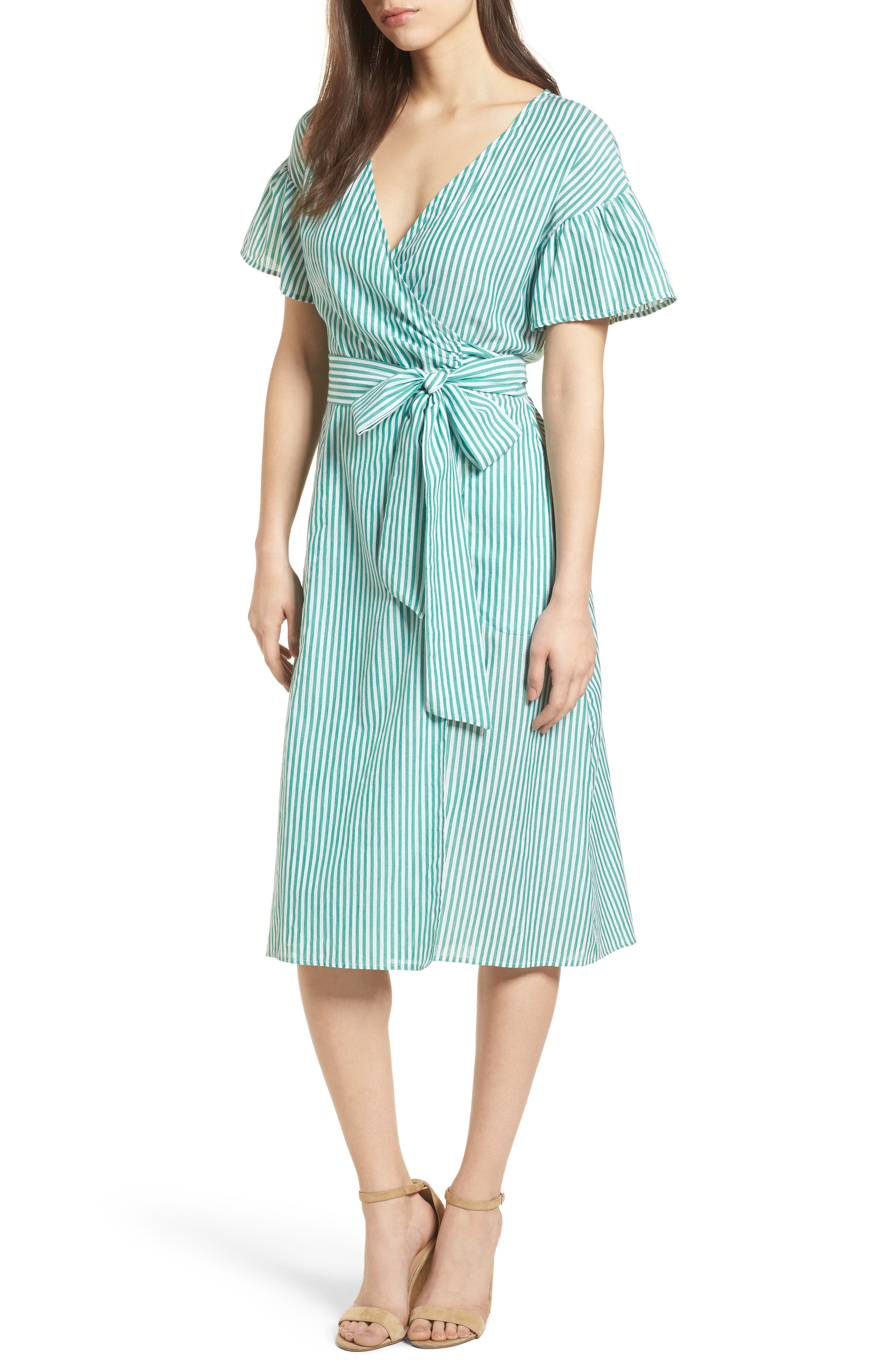 Stripe Cotton Wrap Dress,                             Main thumbnail 1, color,                             Green