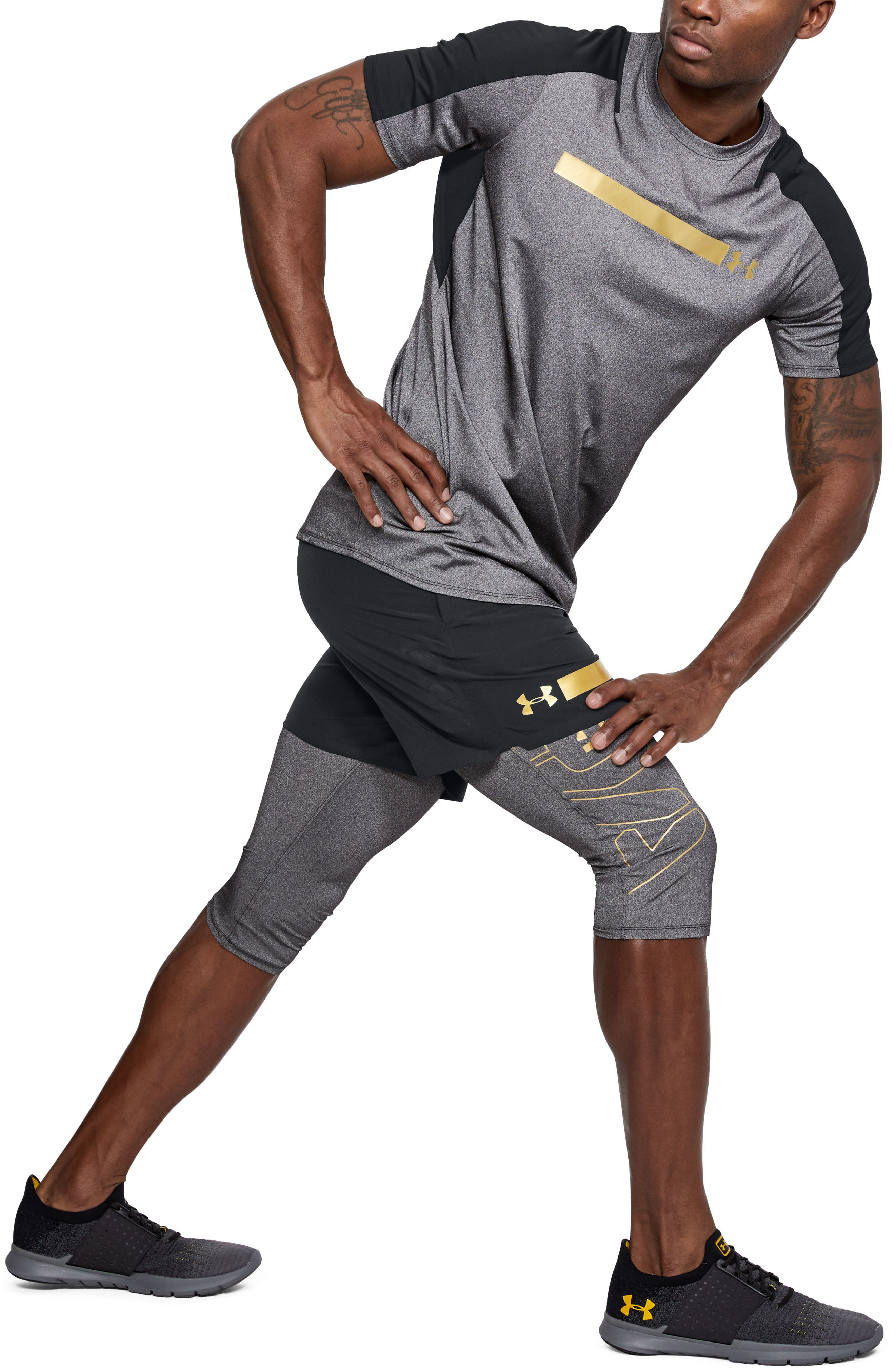 Perpetual Fitted Shorts,                             Alternate thumbnail 3, color,                             Black/ Metallic Victory Gold