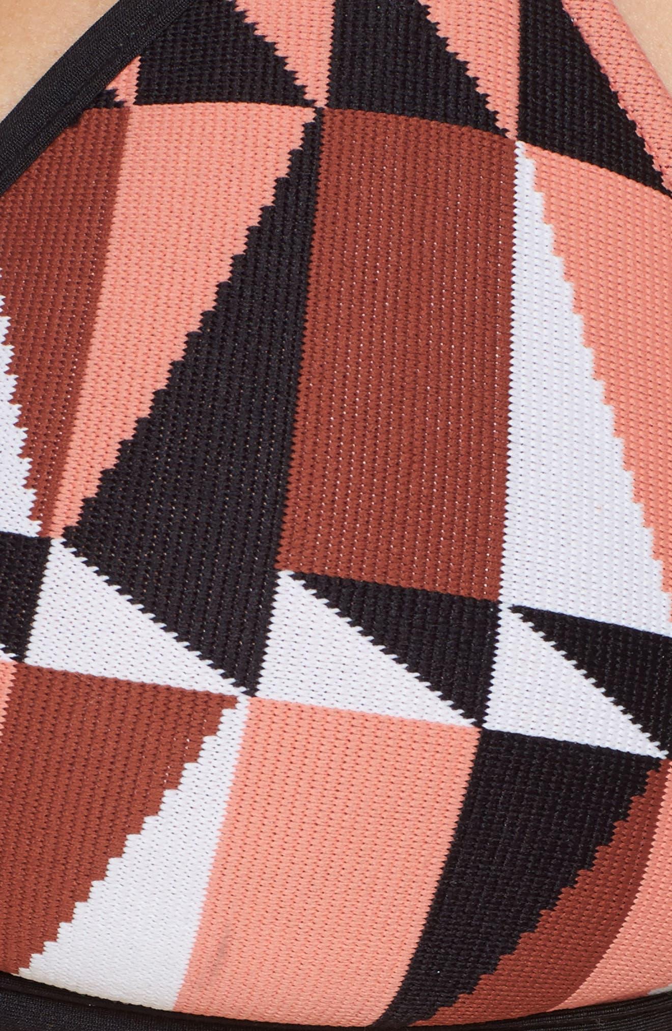 Jagged Geo Action Back Triangle Bikini Top,                             Alternate thumbnail 8, color,                             Burnt Amber
