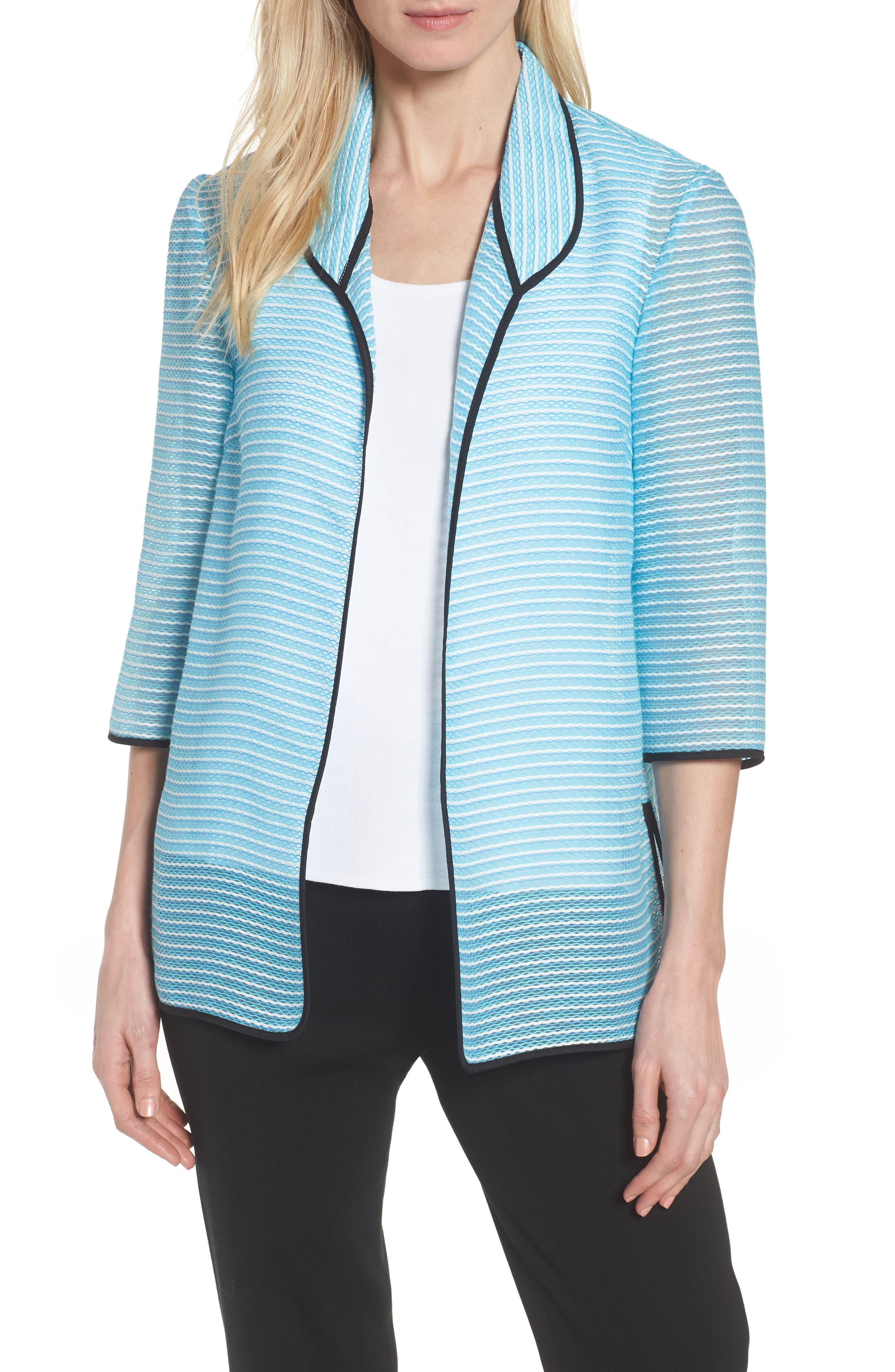 Ming Wang Textured Knit Three Quarter Sleeve Jacket