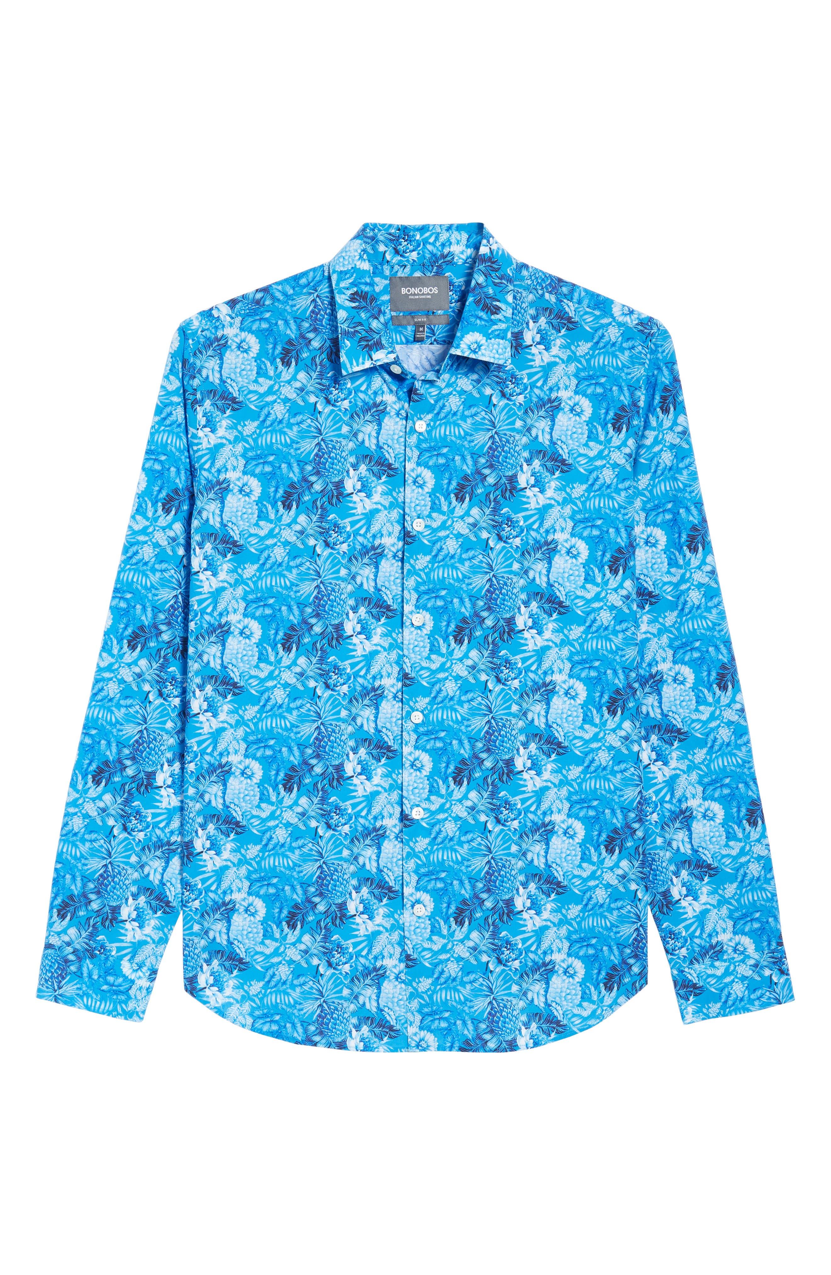 Premium Slim Fit Print Sport Shirt,                             Alternate thumbnail 6, color,                             Blue Floral