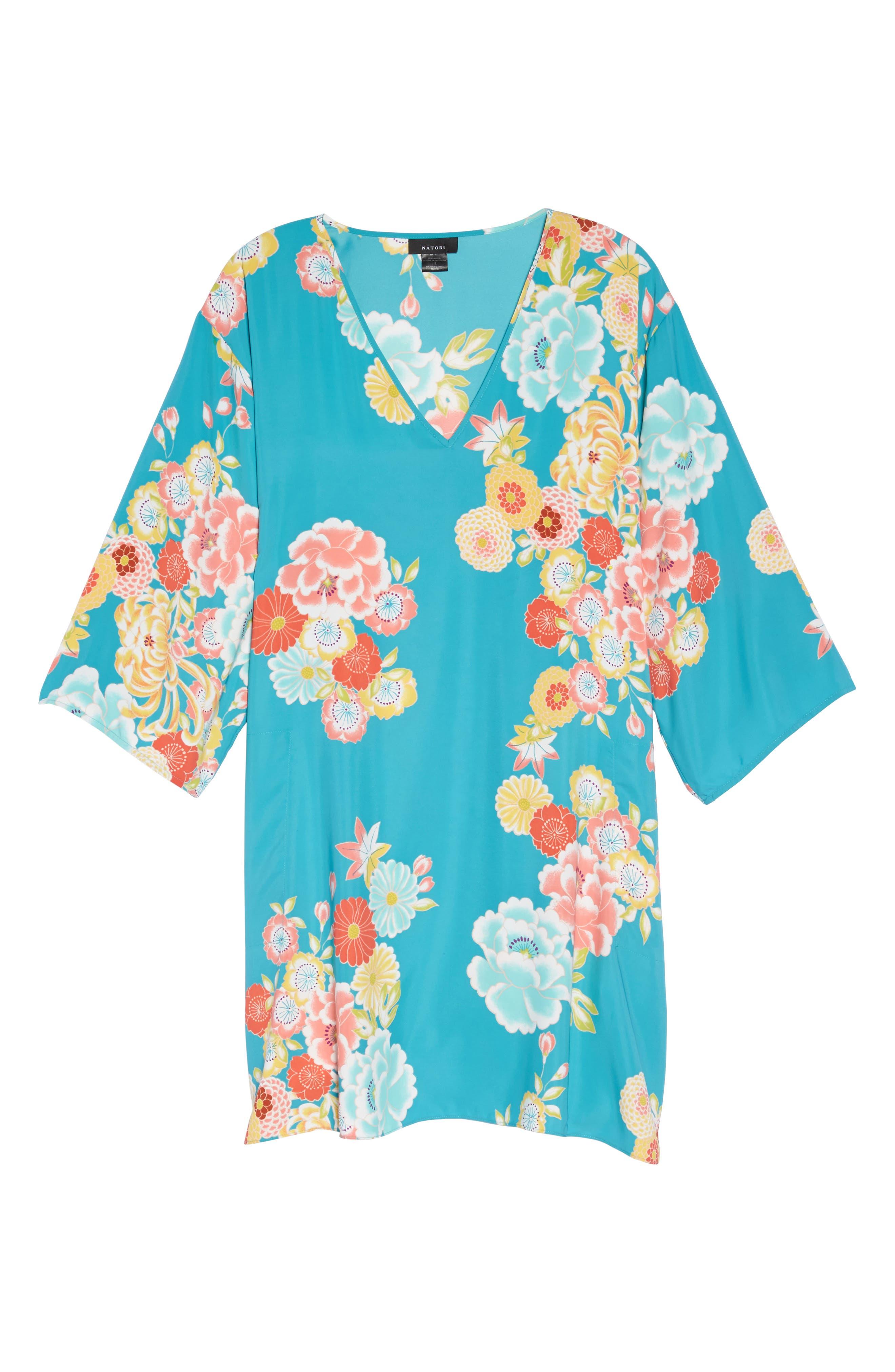 Saipan Caftan,                             Alternate thumbnail 4, color,                             Blue Turquoise