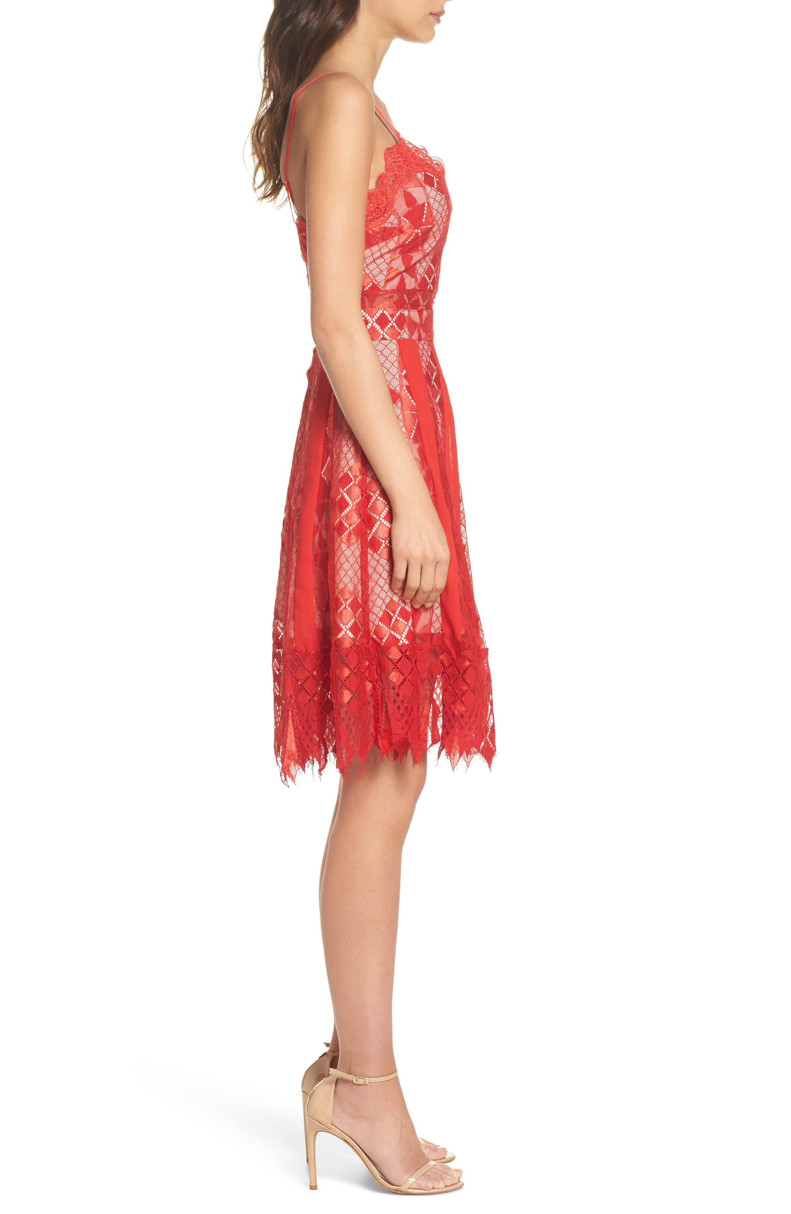 Calla Geometric Lace Dress,                             Alternate thumbnail 3, color,                             Red