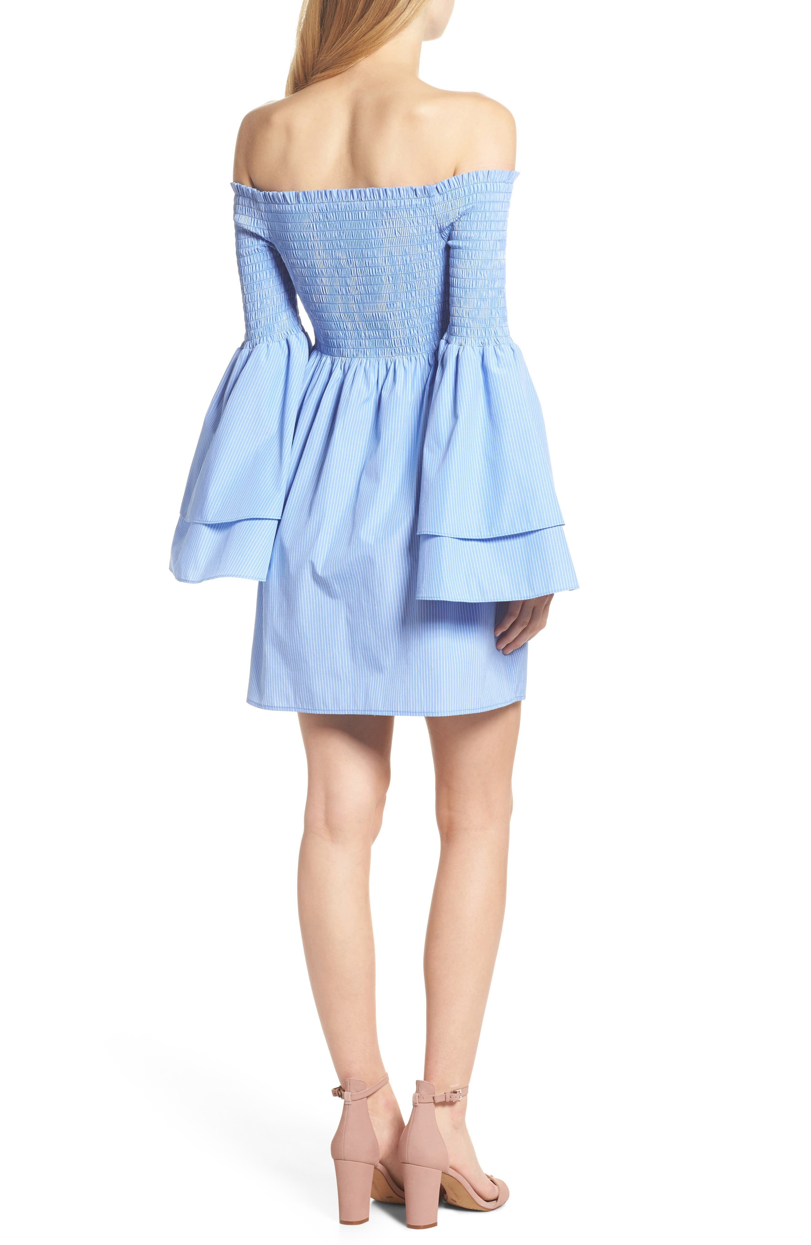 Smocked Off the Shoulder Bell Sleeve Dress,                             Alternate thumbnail 2, color,                             Blue/ White Stripe