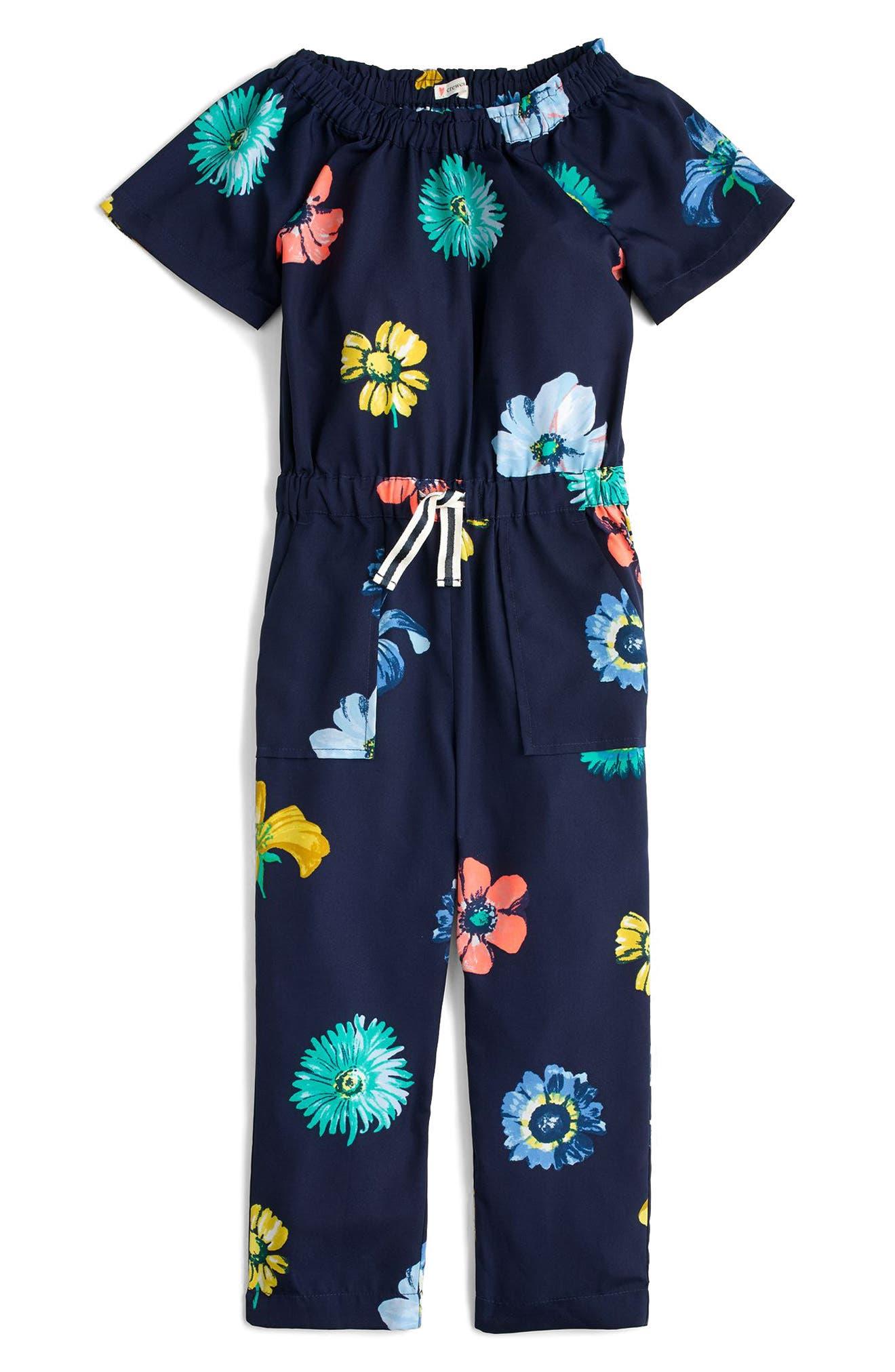 Flower Print Jumpsuit,                             Main thumbnail 1, color,                             Navy Multi
