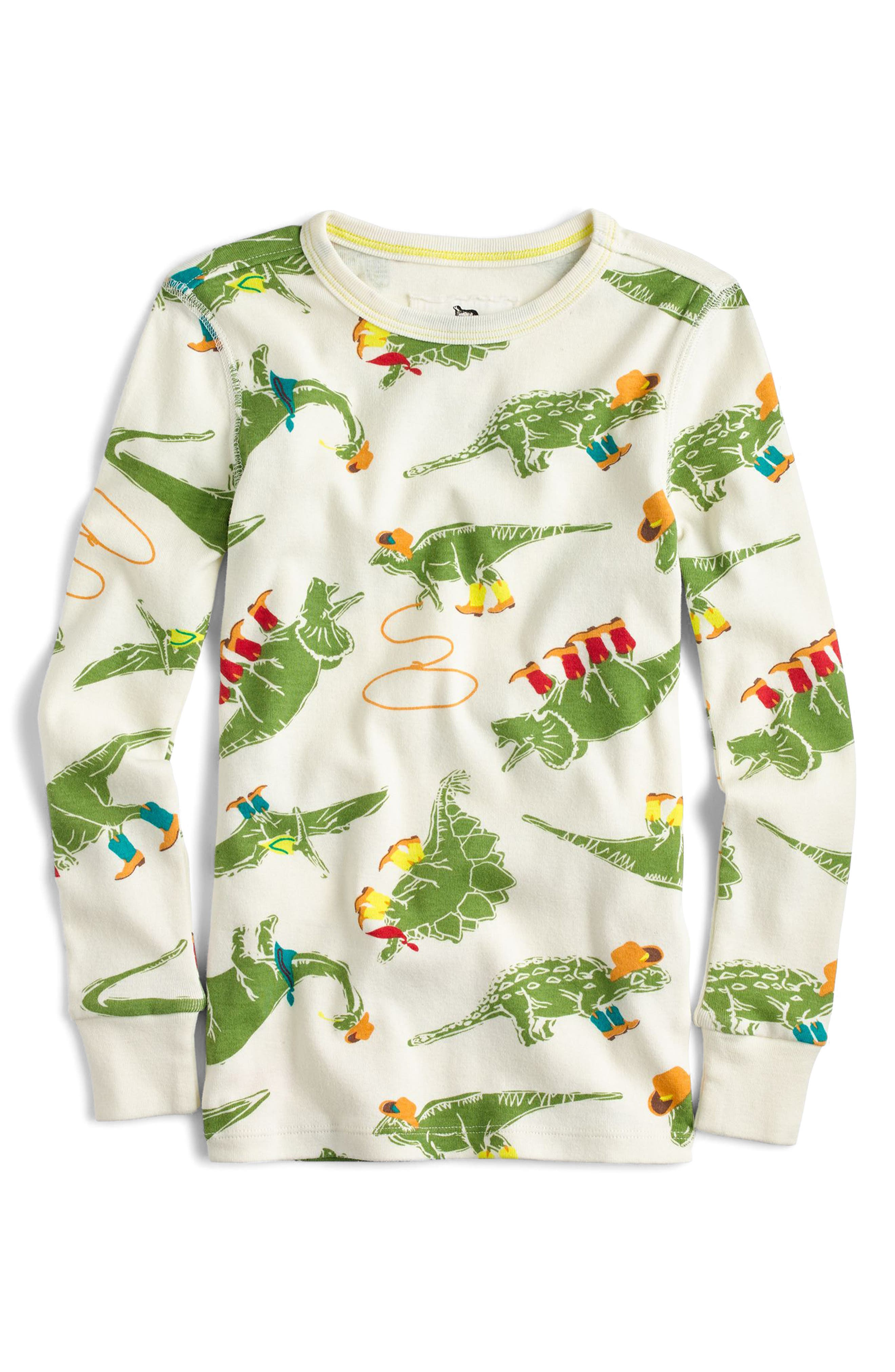 Cowboy Dinosaur Print Fitted Two-Piece Pajamas,                             Alternate thumbnail 2, color,                             Ivory