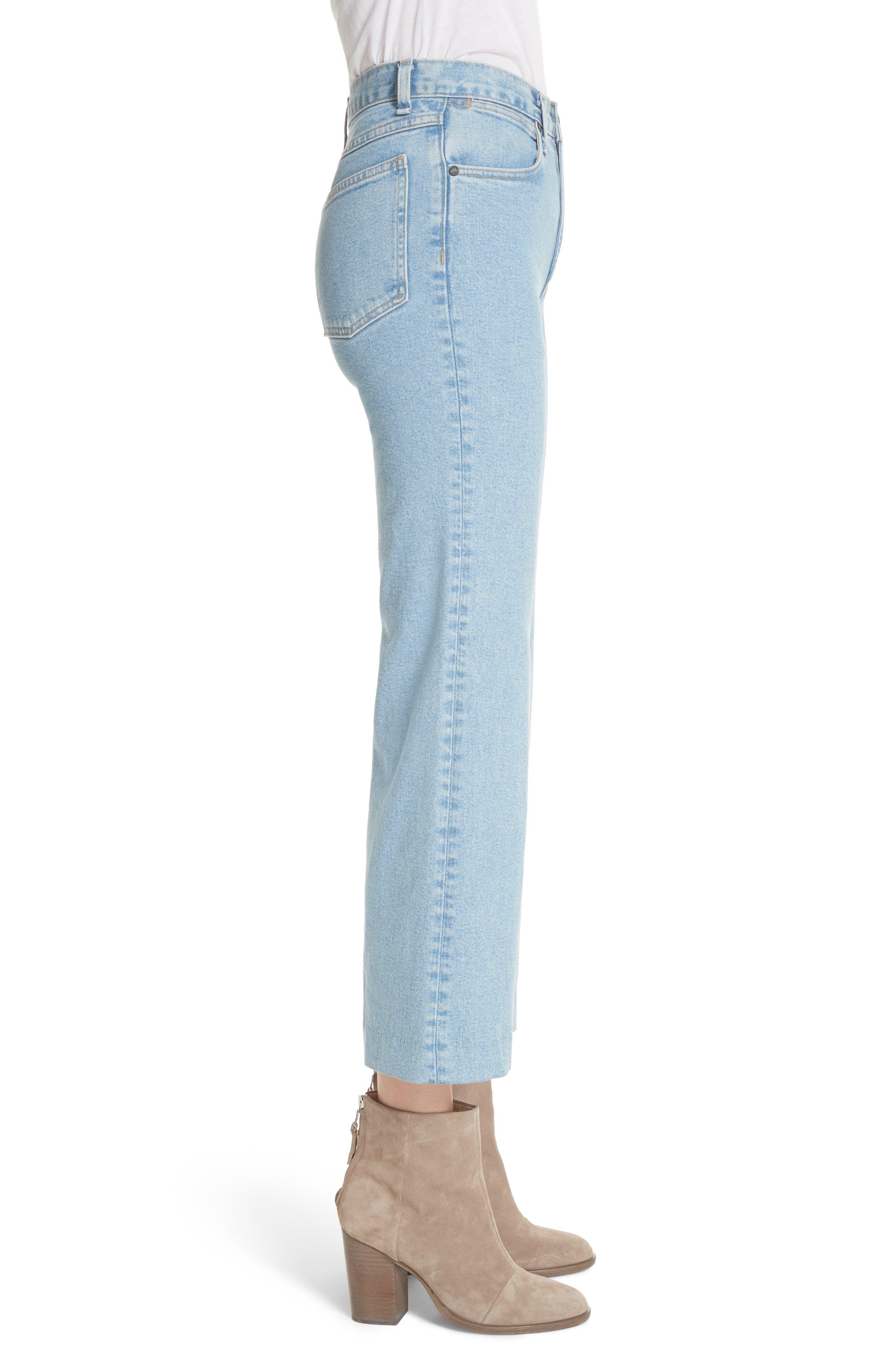 Justine High Waist Wide Leg Trouser Jeans,                             Alternate thumbnail 3, color,                             Broken Nelly