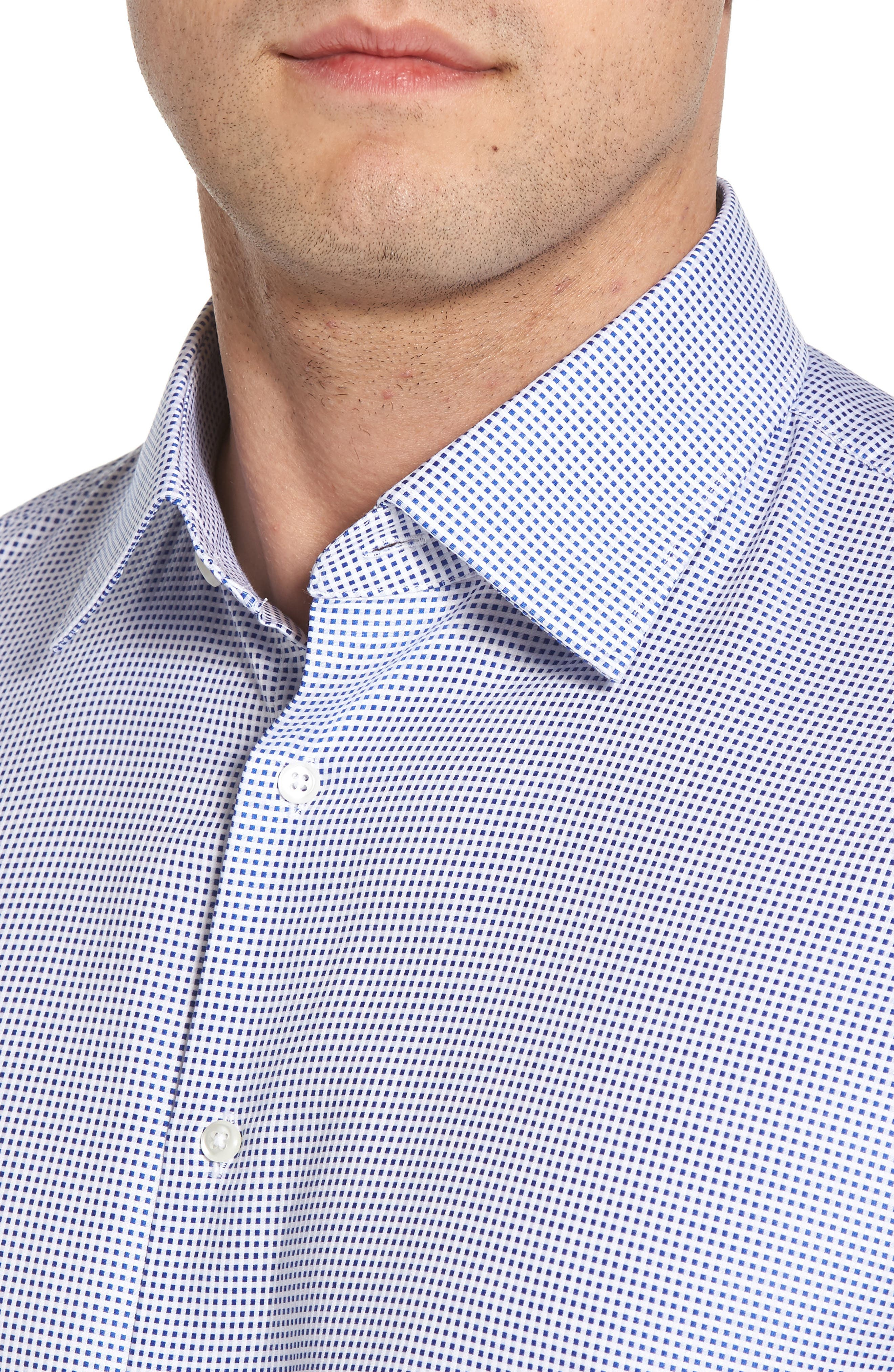 Traditional Fit Microcheck Dress Shirt,                             Alternate thumbnail 2, color,                             Blue Surf