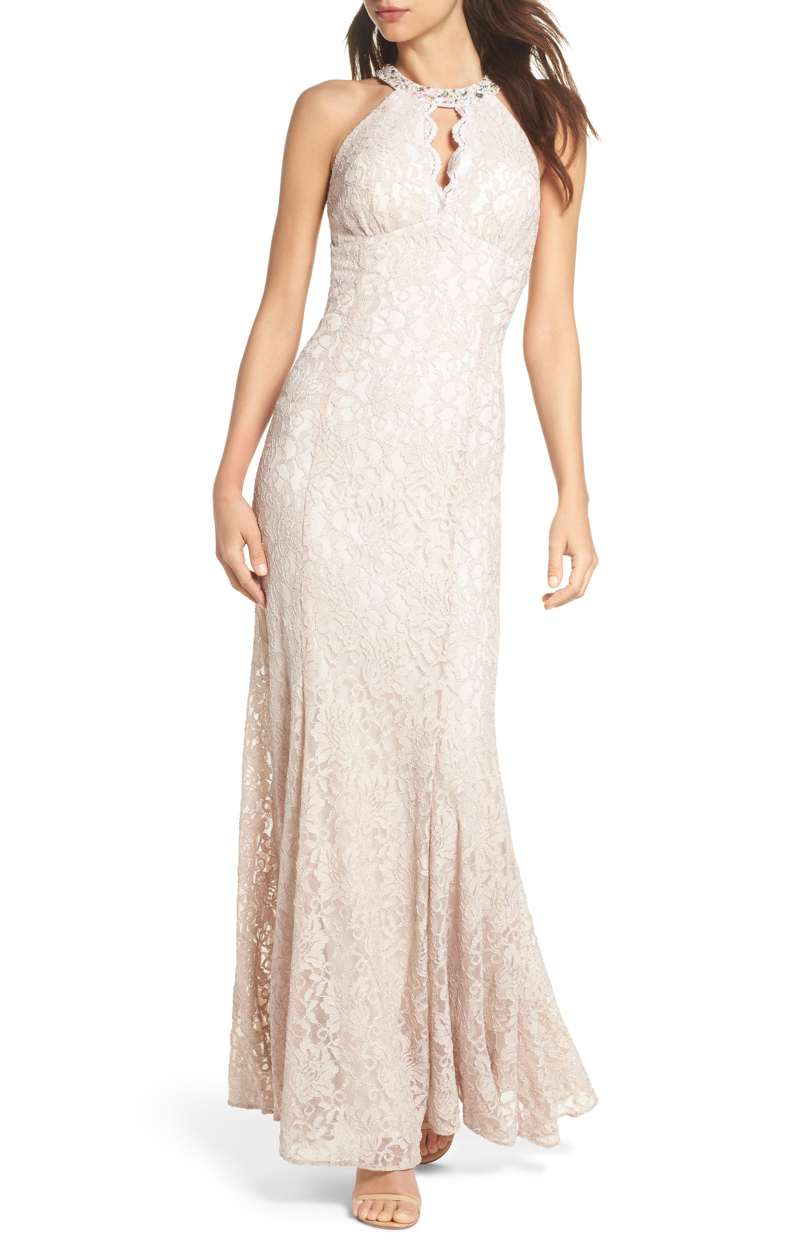 Embellished Lace Gown,                         Main,                         color, Champagne / Ivory