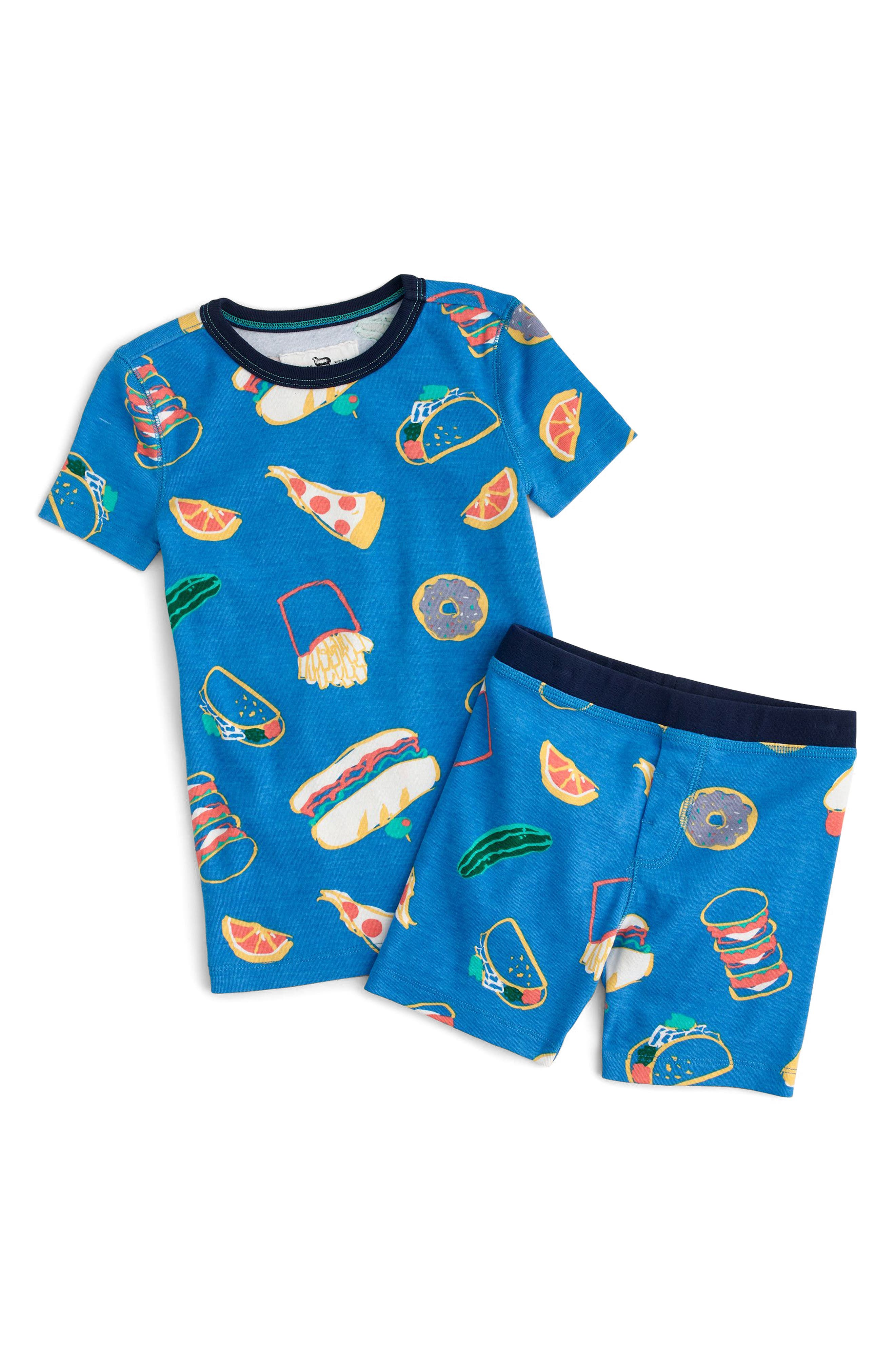 Pizza Party Fitted Two-Piece Pajamas,                         Main,                         color, Cobalt
