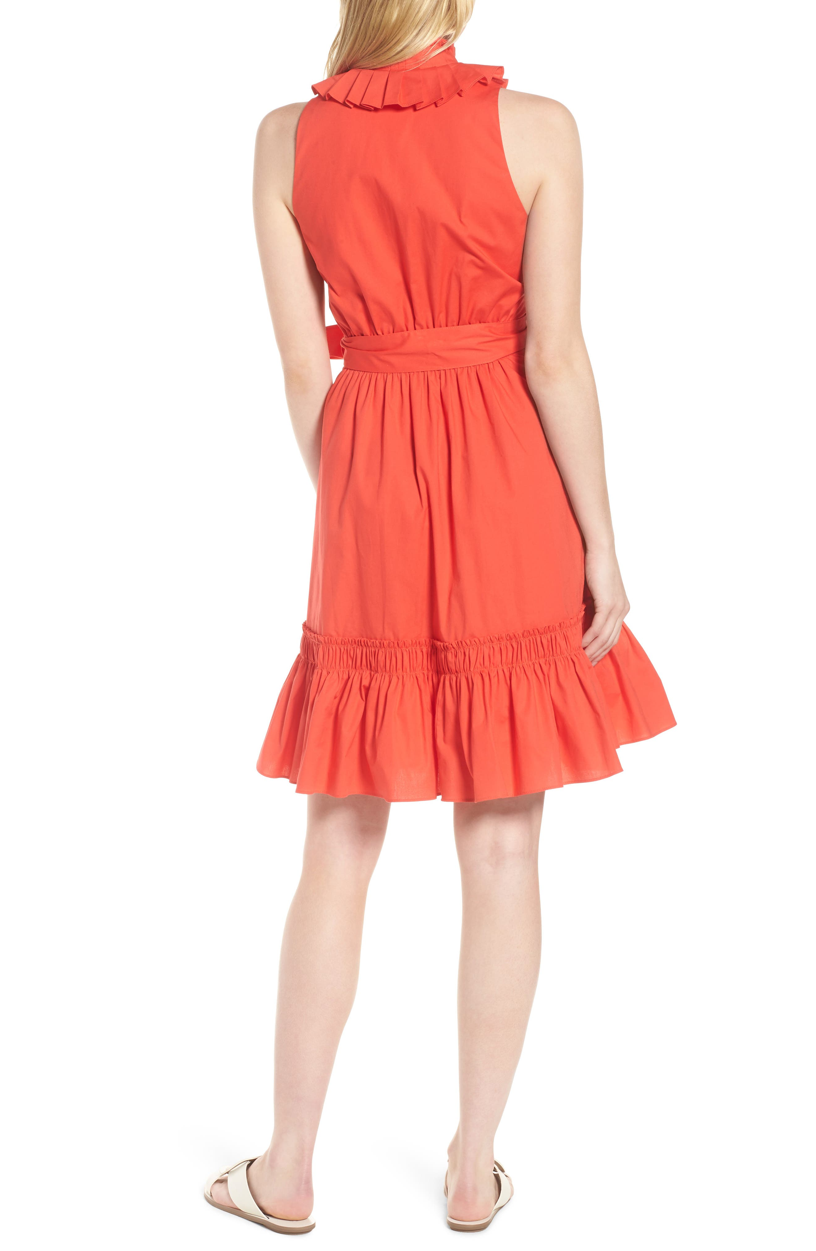 Pleat Collar Shirtdress,                             Alternate thumbnail 3, color,                             Red Bloom