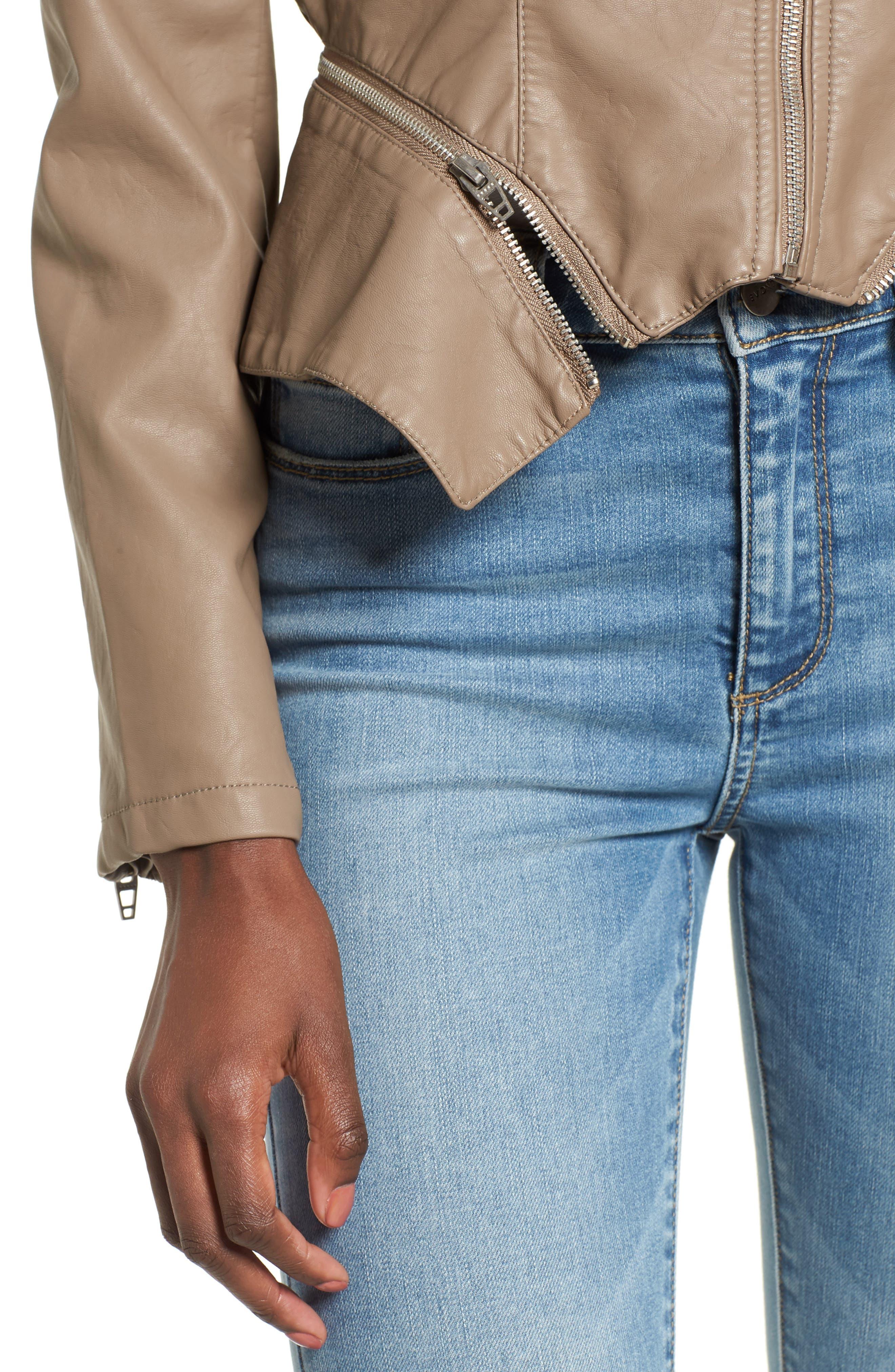 Faux Leather Moto Jacket,                             Alternate thumbnail 4, color,                             Sand Stoner