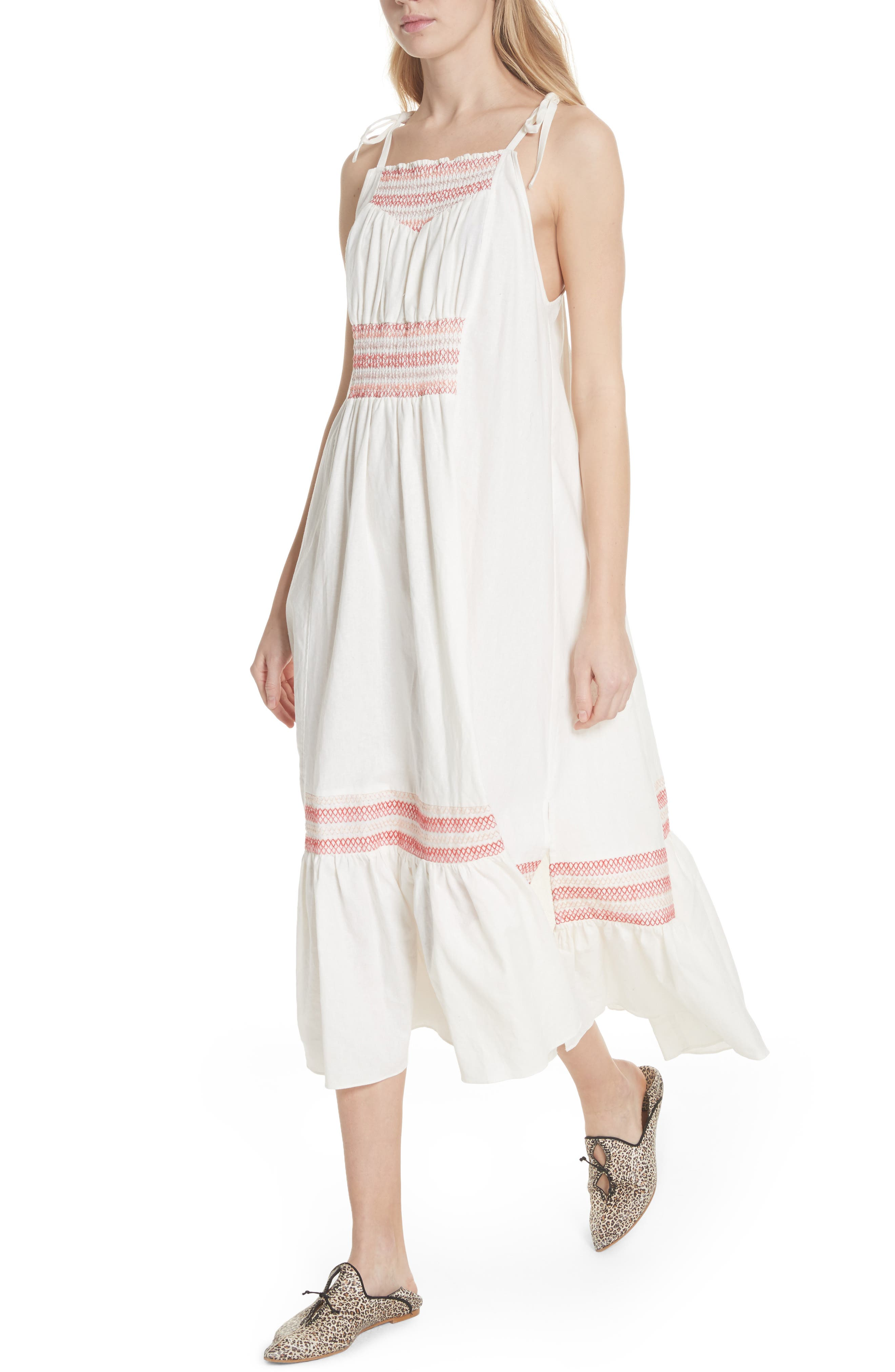 Another Love Smocked Midi Dress,                             Alternate thumbnail 4, color,                             Ivory