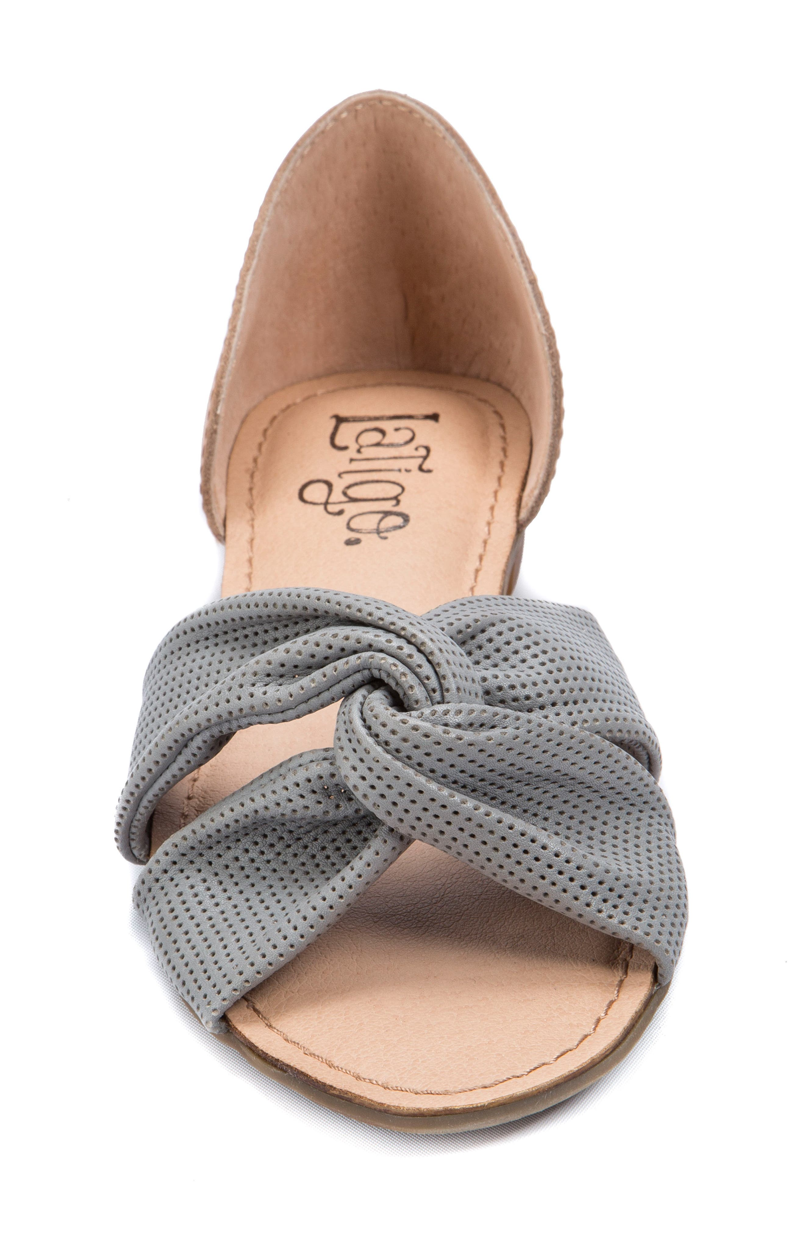 Darcy Perforated Flat Sandal,                             Alternate thumbnail 4, color,                             Mist Grey Leather