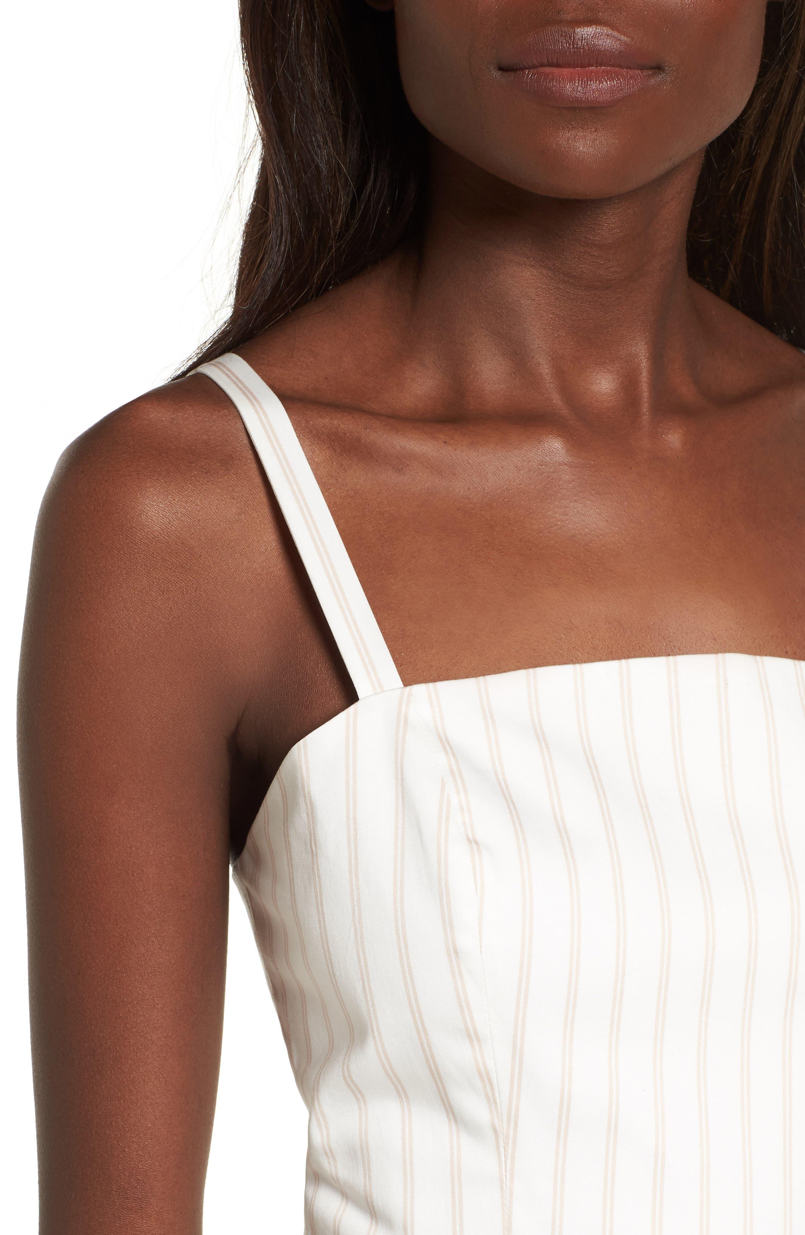Fit & Flare Dress,                             Alternate thumbnail 4, color,                             Ivory Ashley Stripe