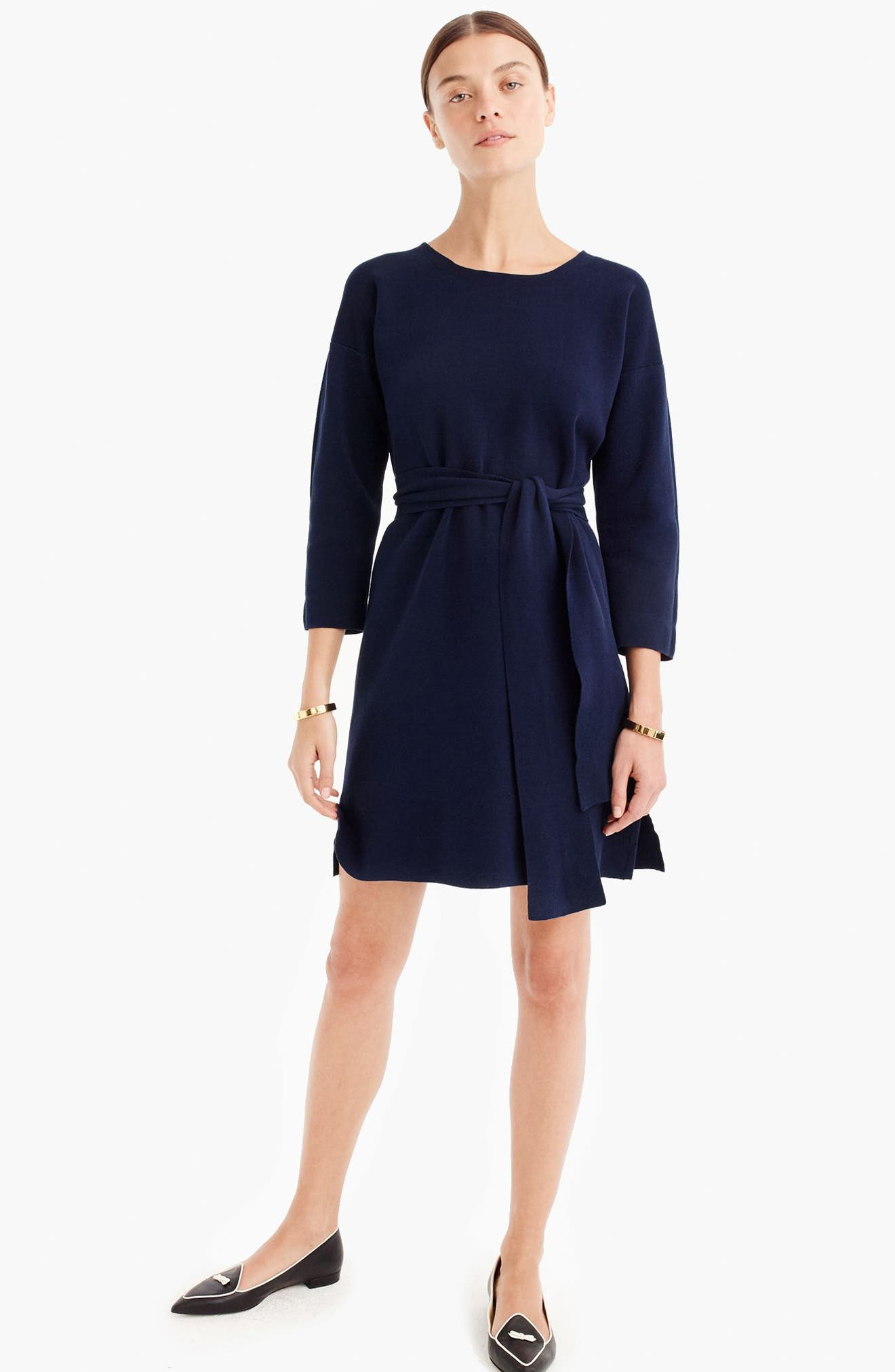 J.Crew Tie Waist Knit Dress,                             Alternate thumbnail 3, color,                             Indigo Sea