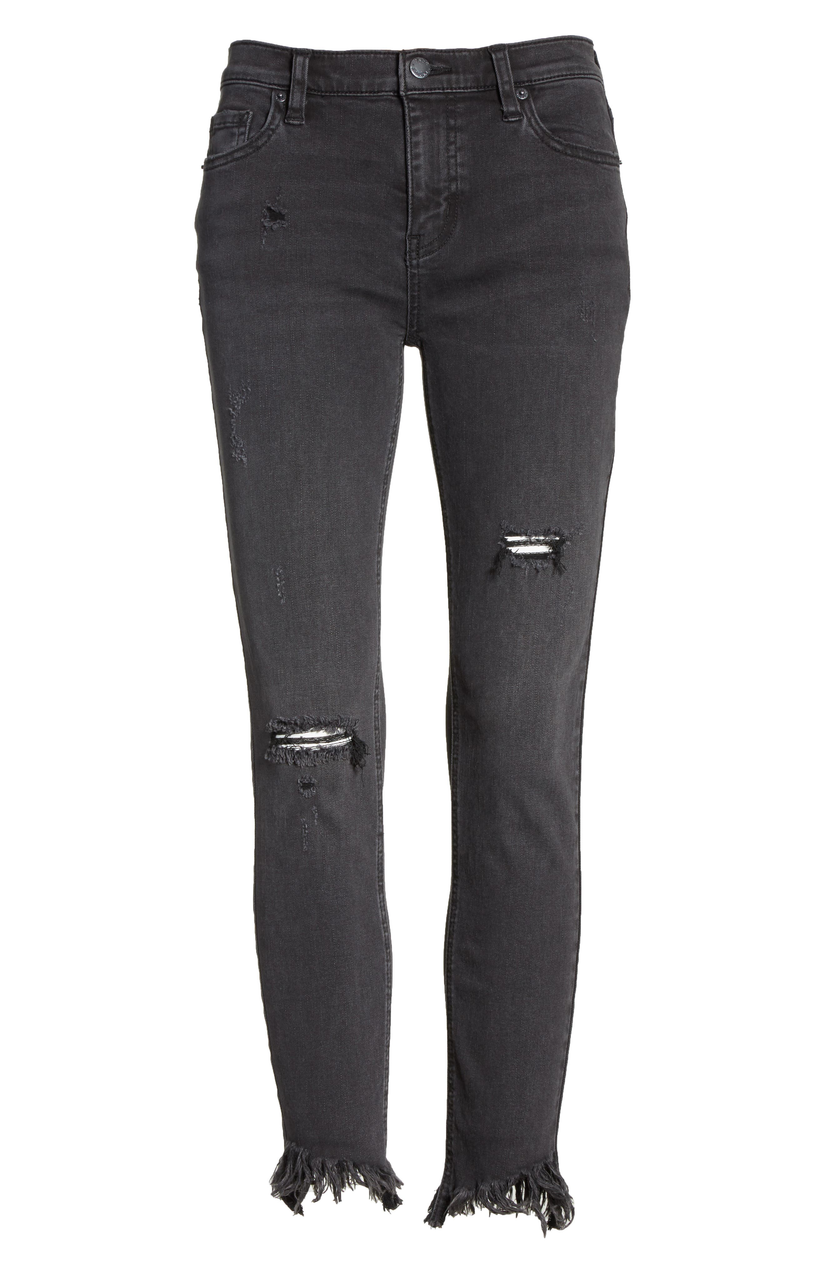 Great Heights Frayed Skinny Jeans,                             Alternate thumbnail 6, color,                             Black