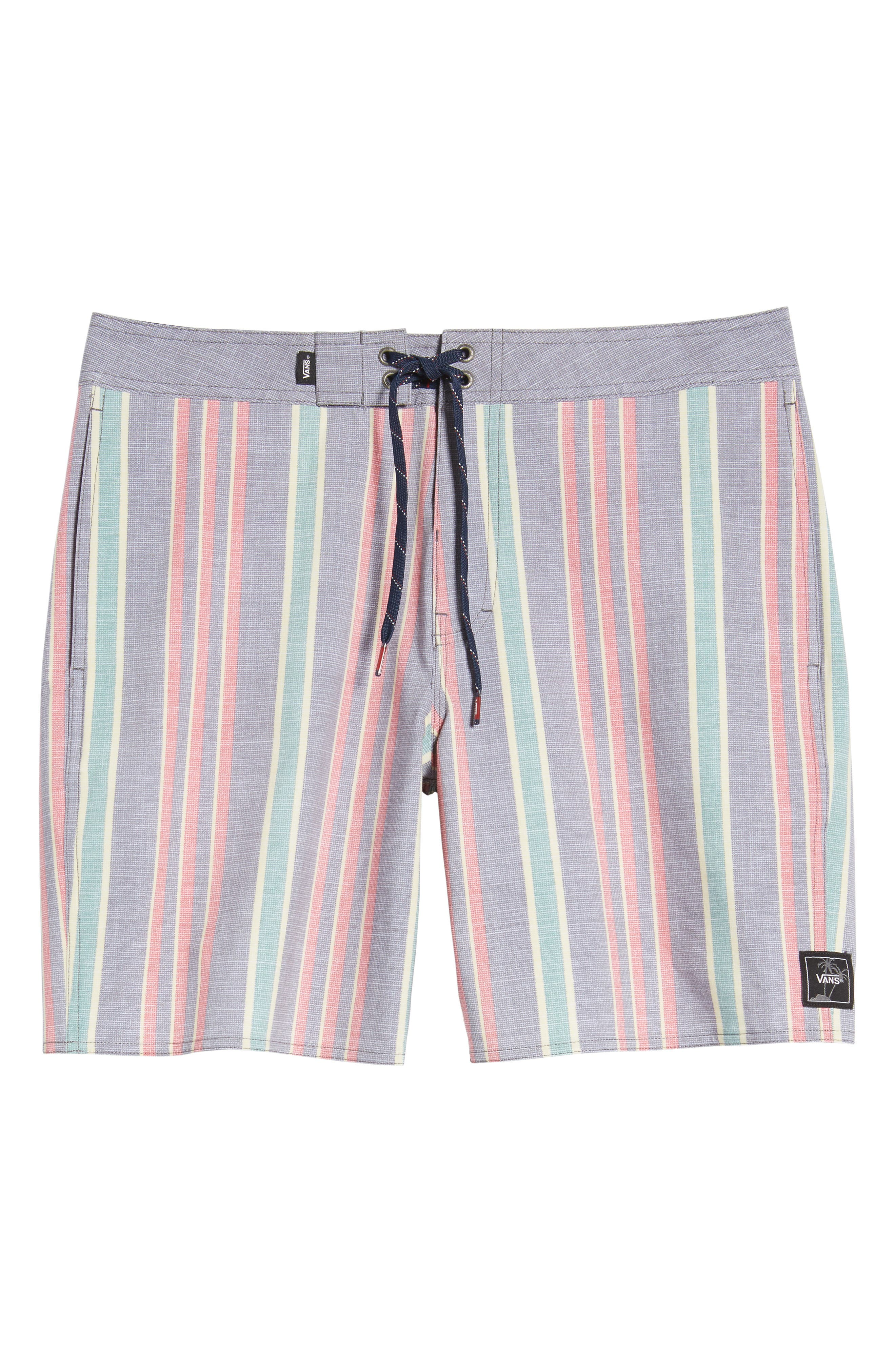 Vertical Stripe Board Shorts,                             Alternate thumbnail 6, color,                             Dress Blues