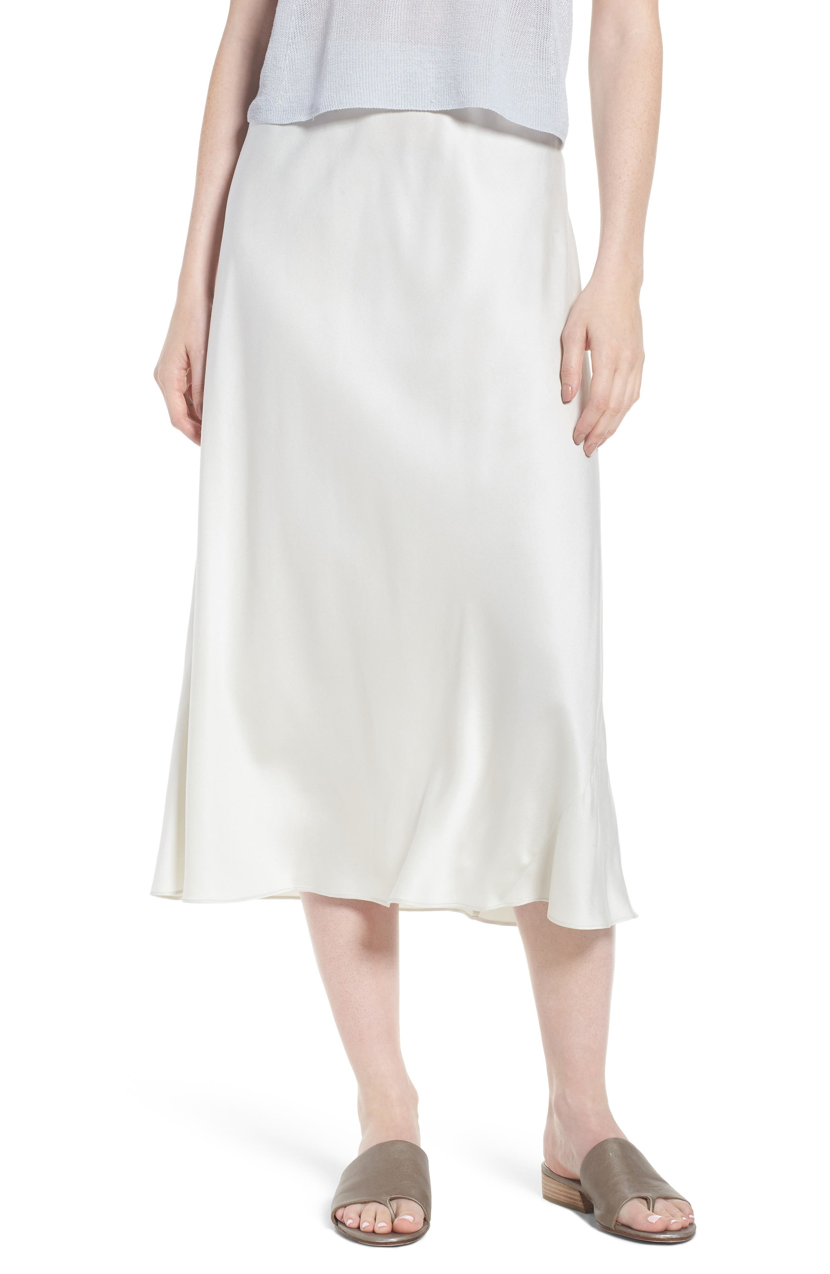 Eileen Fisher Bias Cut Silk Skirt