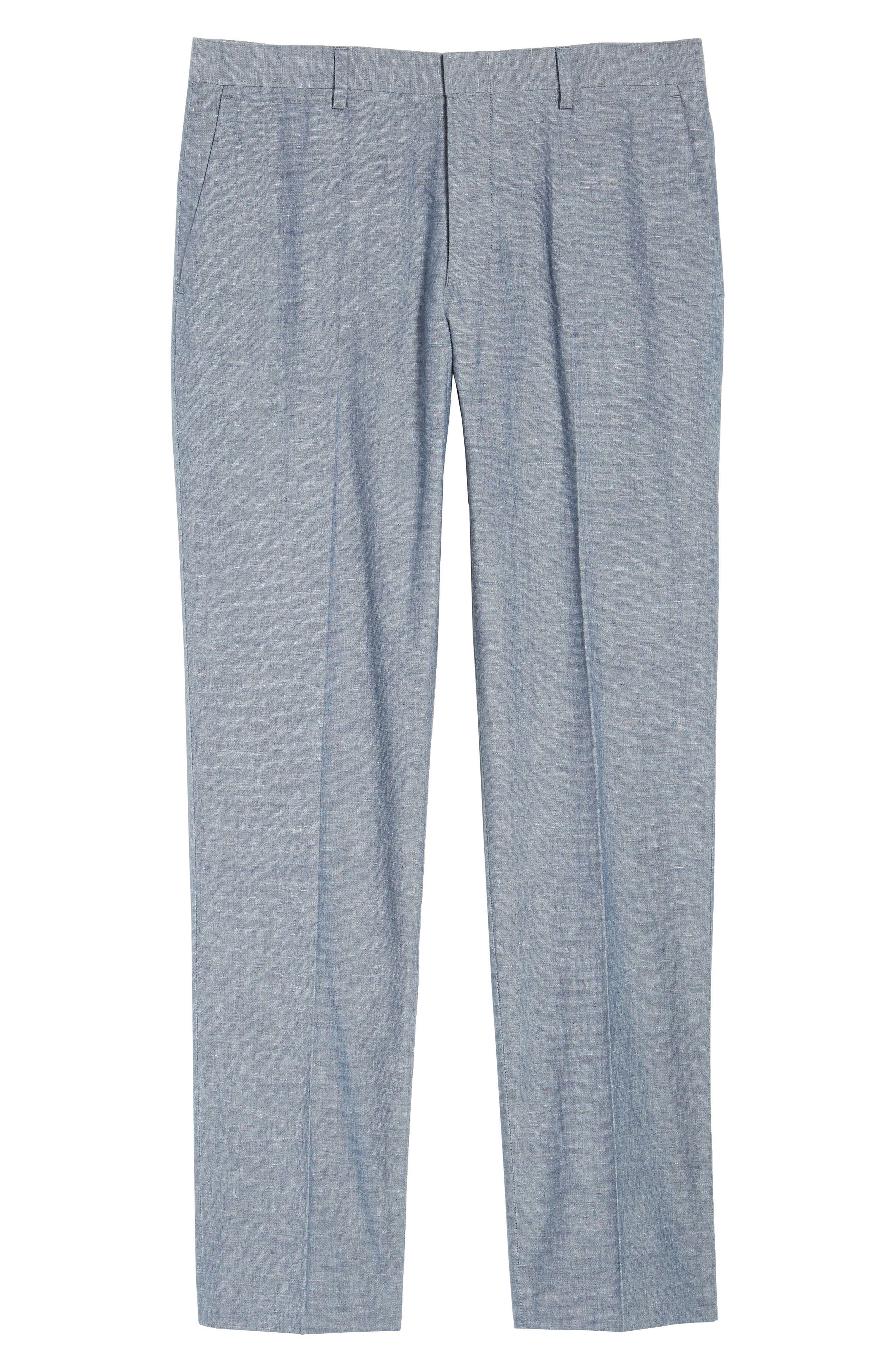 Ludlow Trim Fit Cotton & Linen Suit Pants,                             Alternate thumbnail 7, color,                             Deep Water Blue