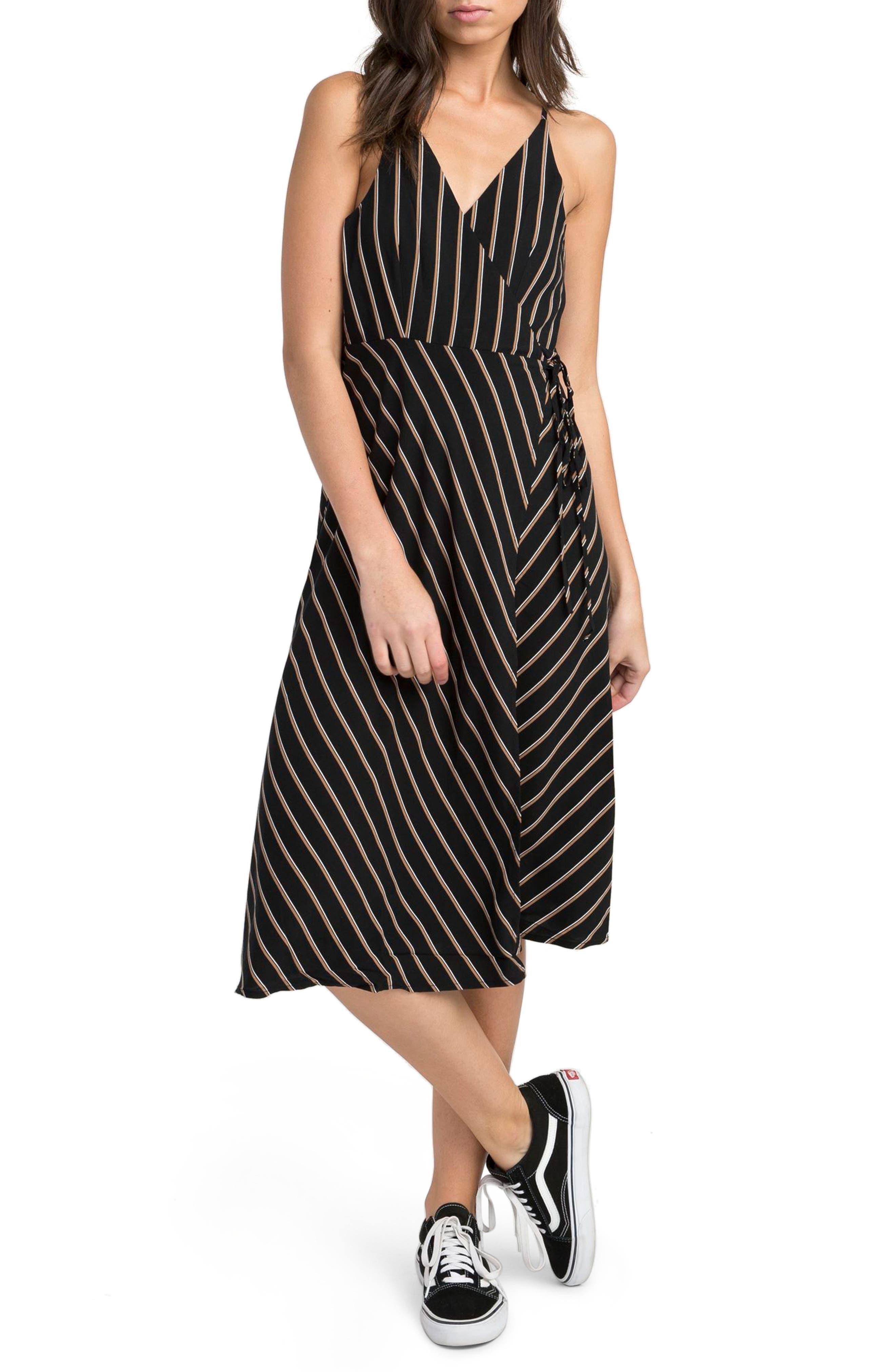 Dat Stripe Wrap Dress,                         Main,                         color, Black