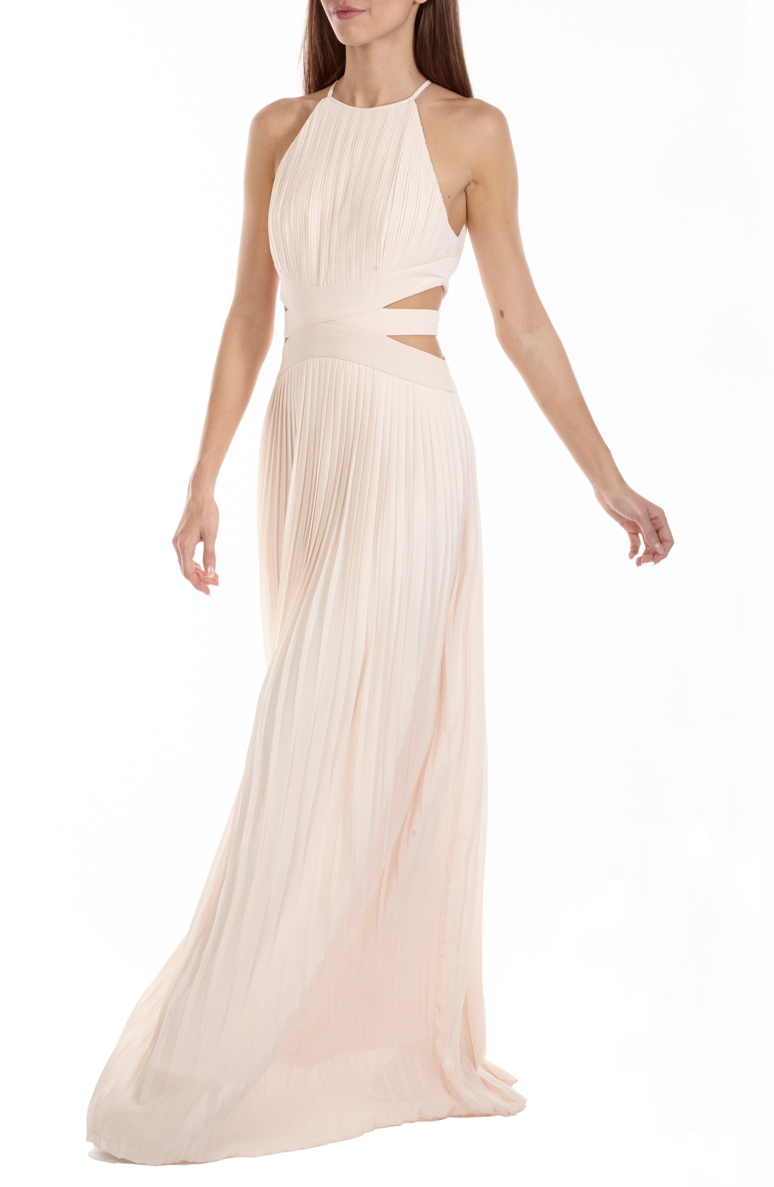Boston Cutout Maxi Dress,                             Alternate thumbnail 3, color,                             Nude