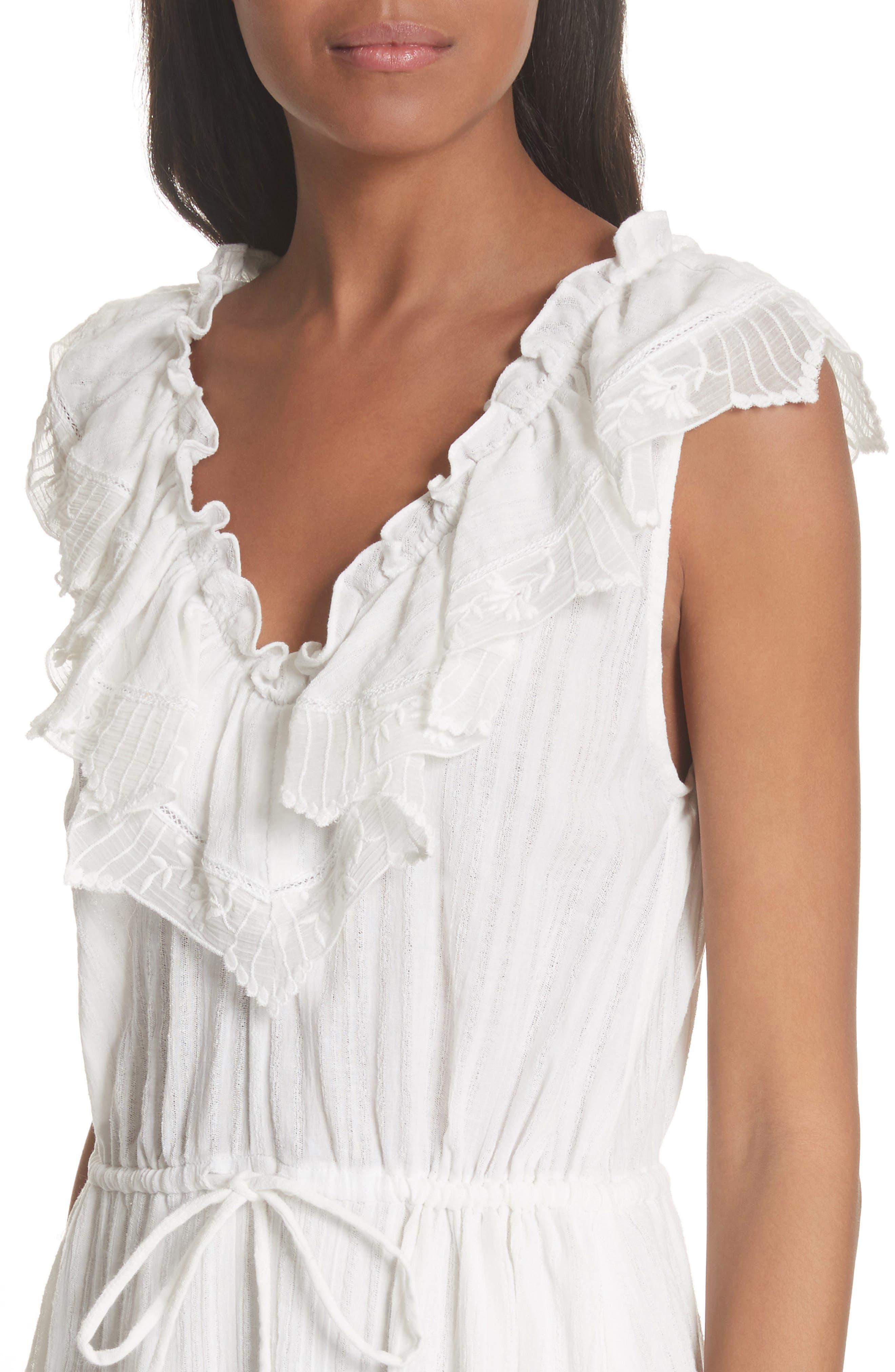 Mariana Ruffled Dress,                             Alternate thumbnail 4, color,                             Milk