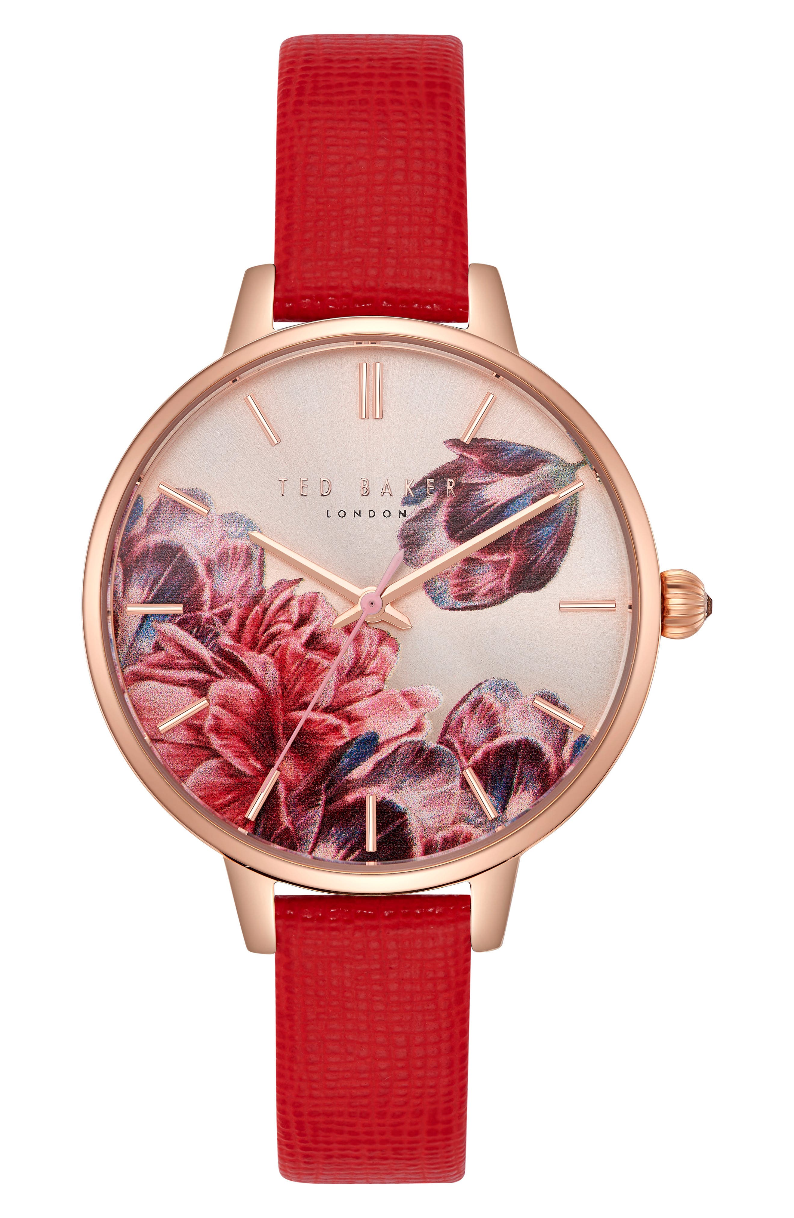 Kate Leather Strap Watch, 36mm,                         Main,                         color, Red/ Printed/ Rose Gold